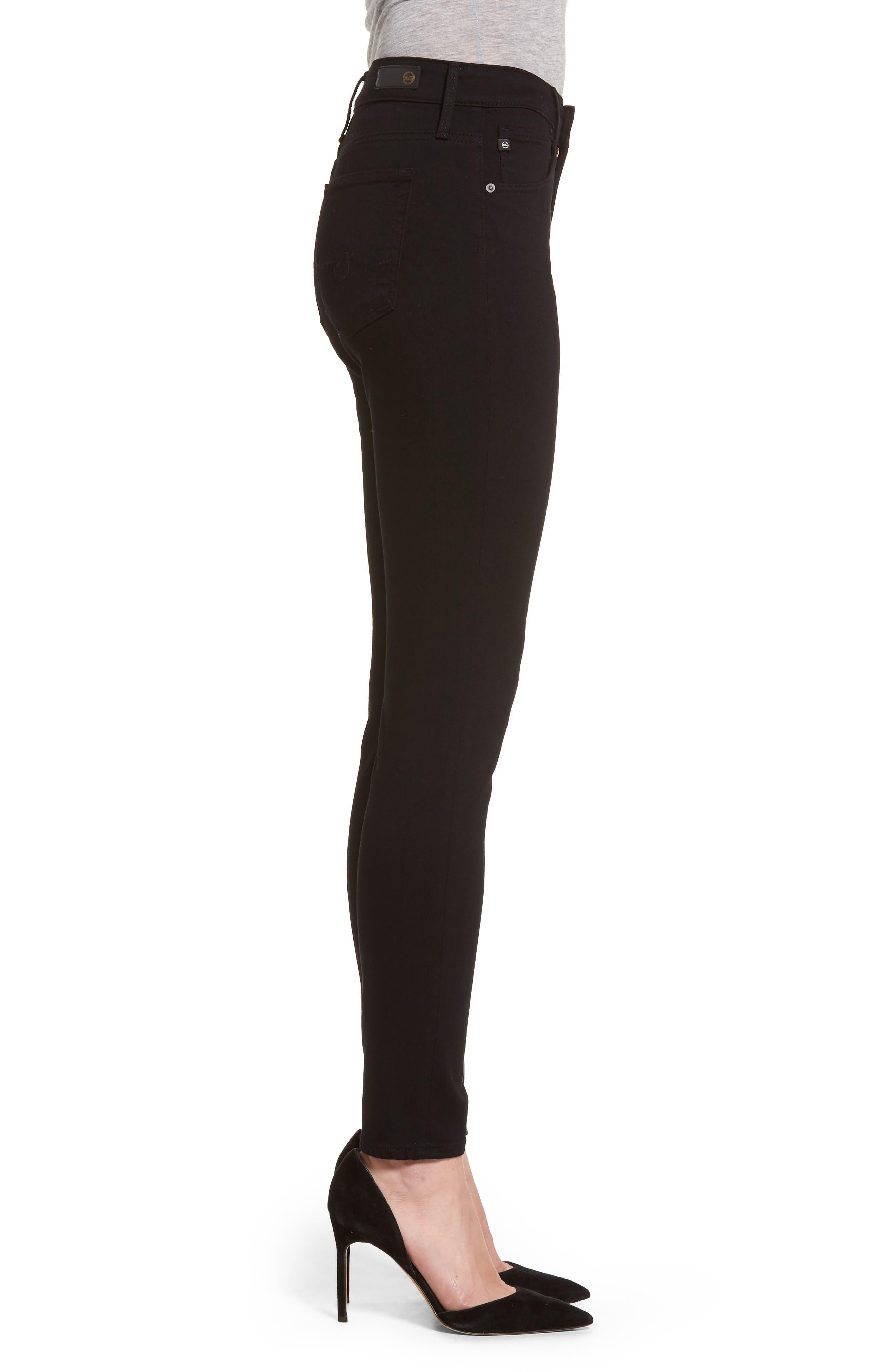 AG, Farrah High Waist Ankle Skinny Jeans, Alternate thumbnail 4, color, SUPER BLACK