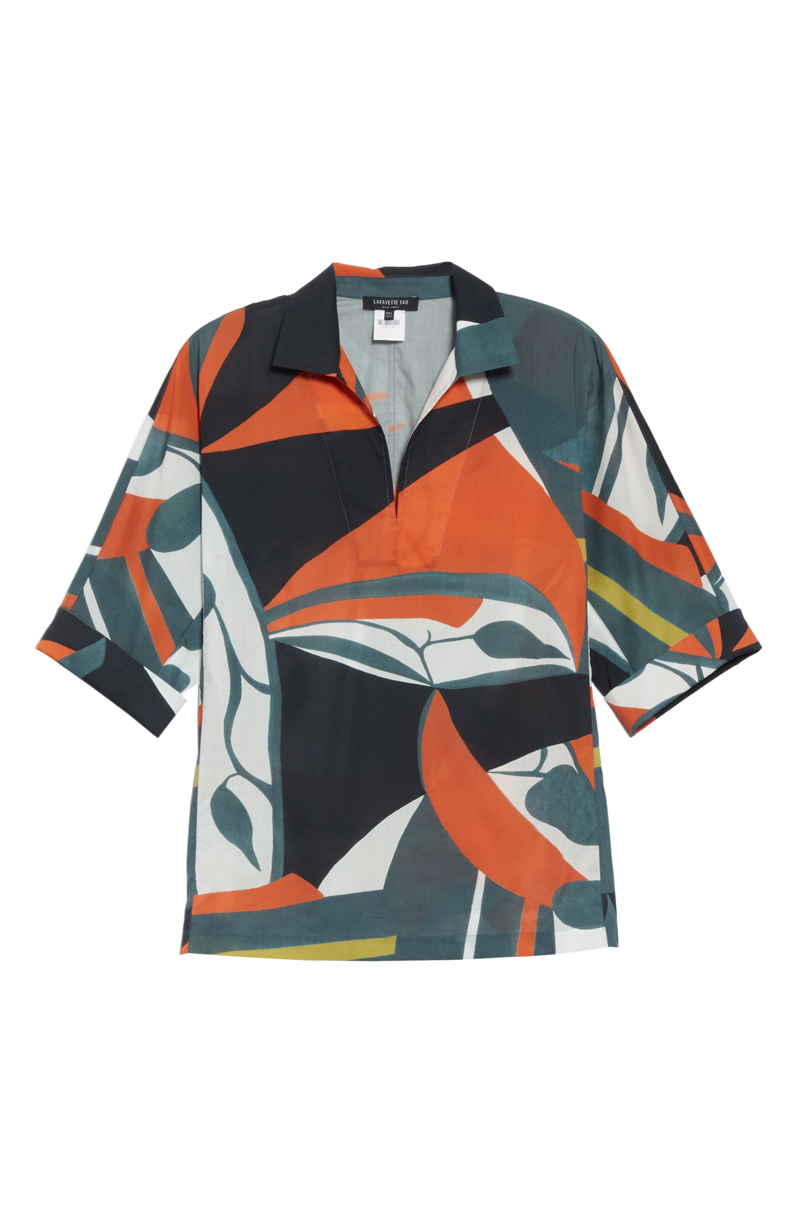 LAFAYETTE 148 NEW YORK, Nicole Artisan Abstract Print Top, Alternate thumbnail 7, color, ATLANTIS TEAL MULTI