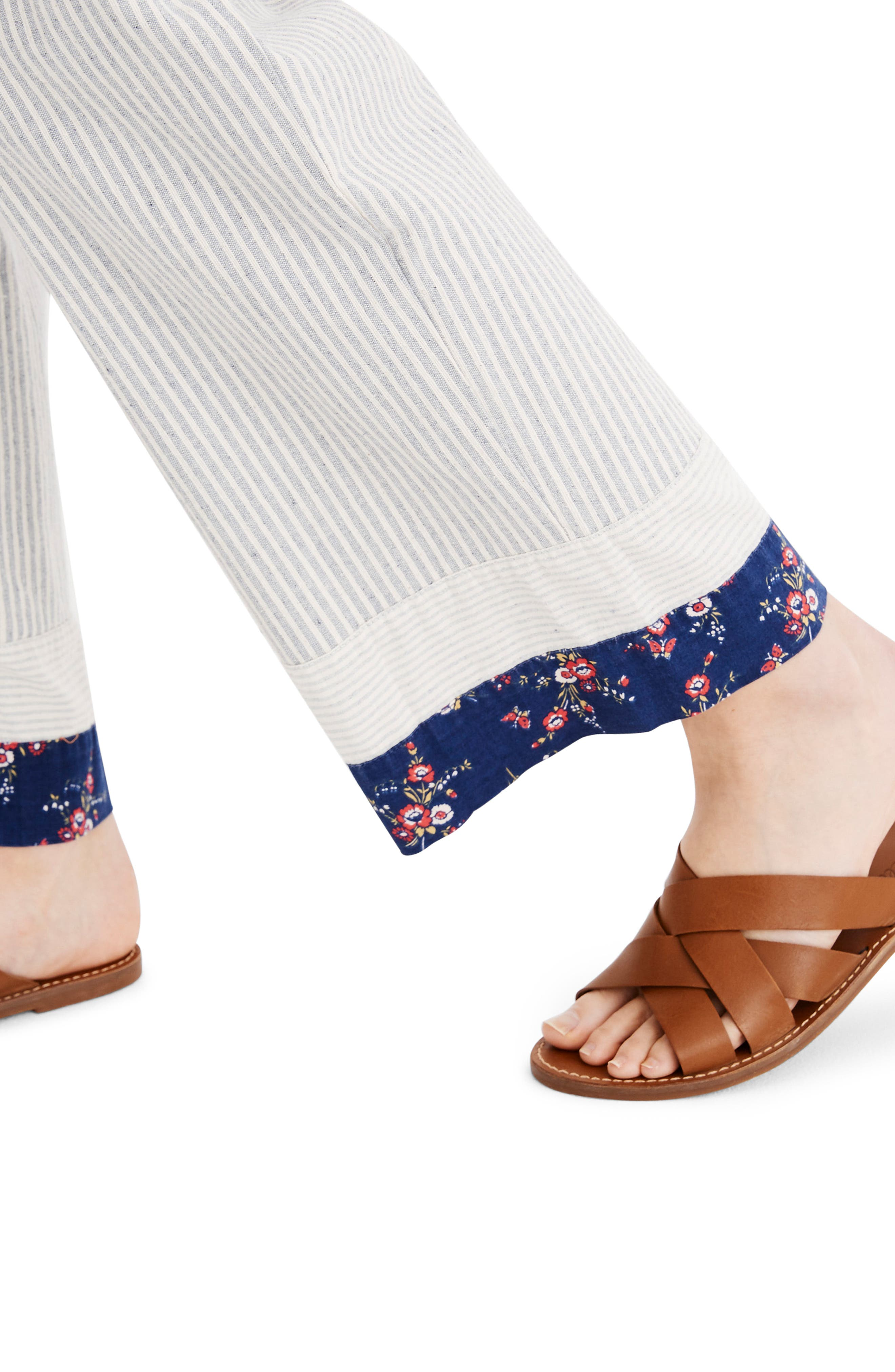 MADEWELL, x The New Denim Project<sup>®</sup> Patchwork Paperbag Pants, Alternate thumbnail 5, color, BLUE RAILROAD STRIPE