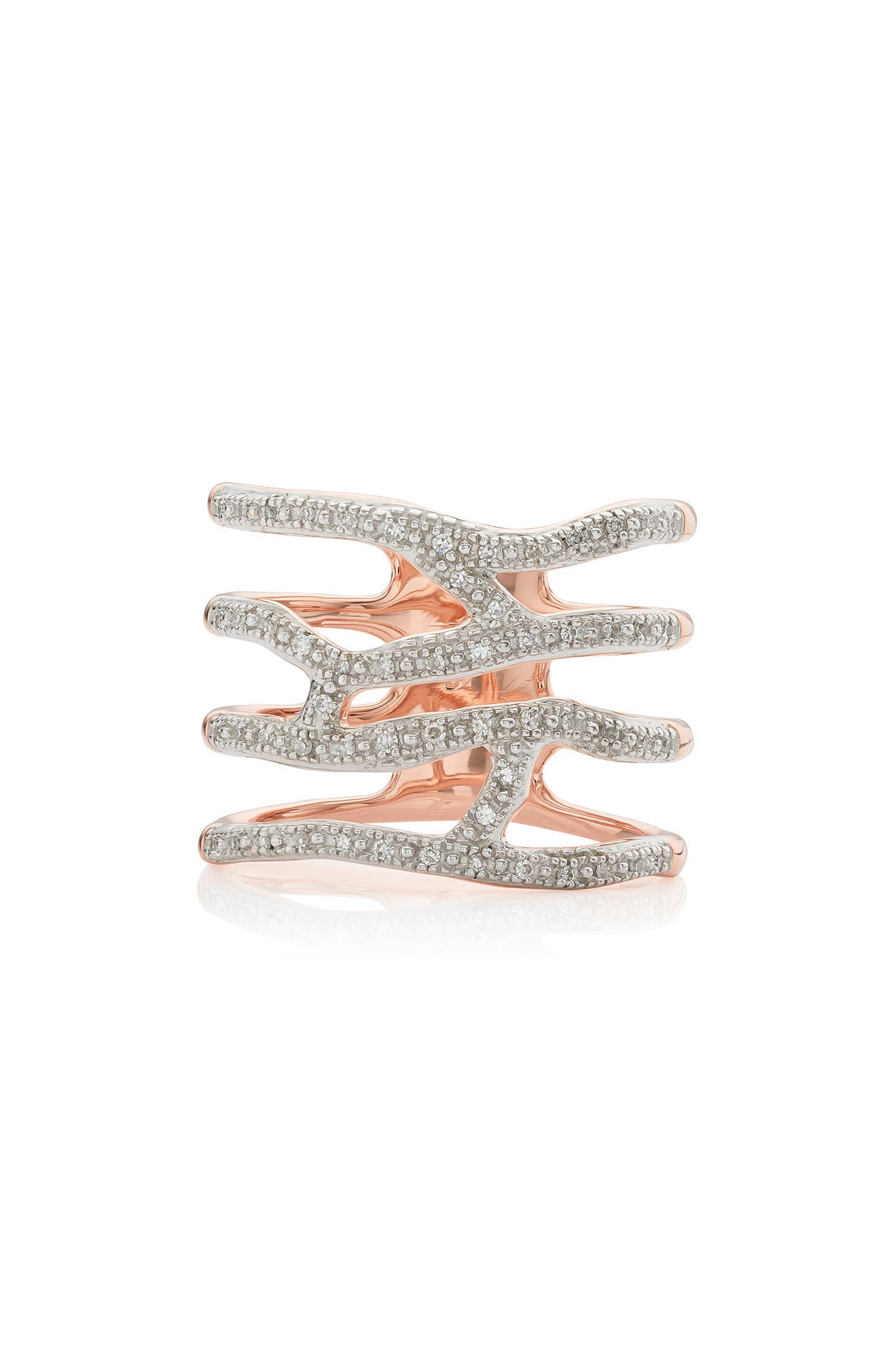 MONICA VINADER Riva Waterfall Diamond Cocktail Ring, Main, color, ROSE GOLD/ DIAMOND