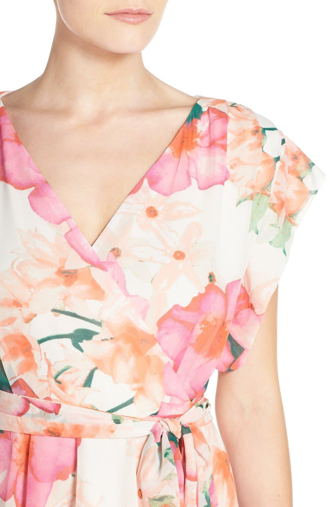 ELIZA J, Floral Print Gown, Alternate thumbnail 6, color, 653