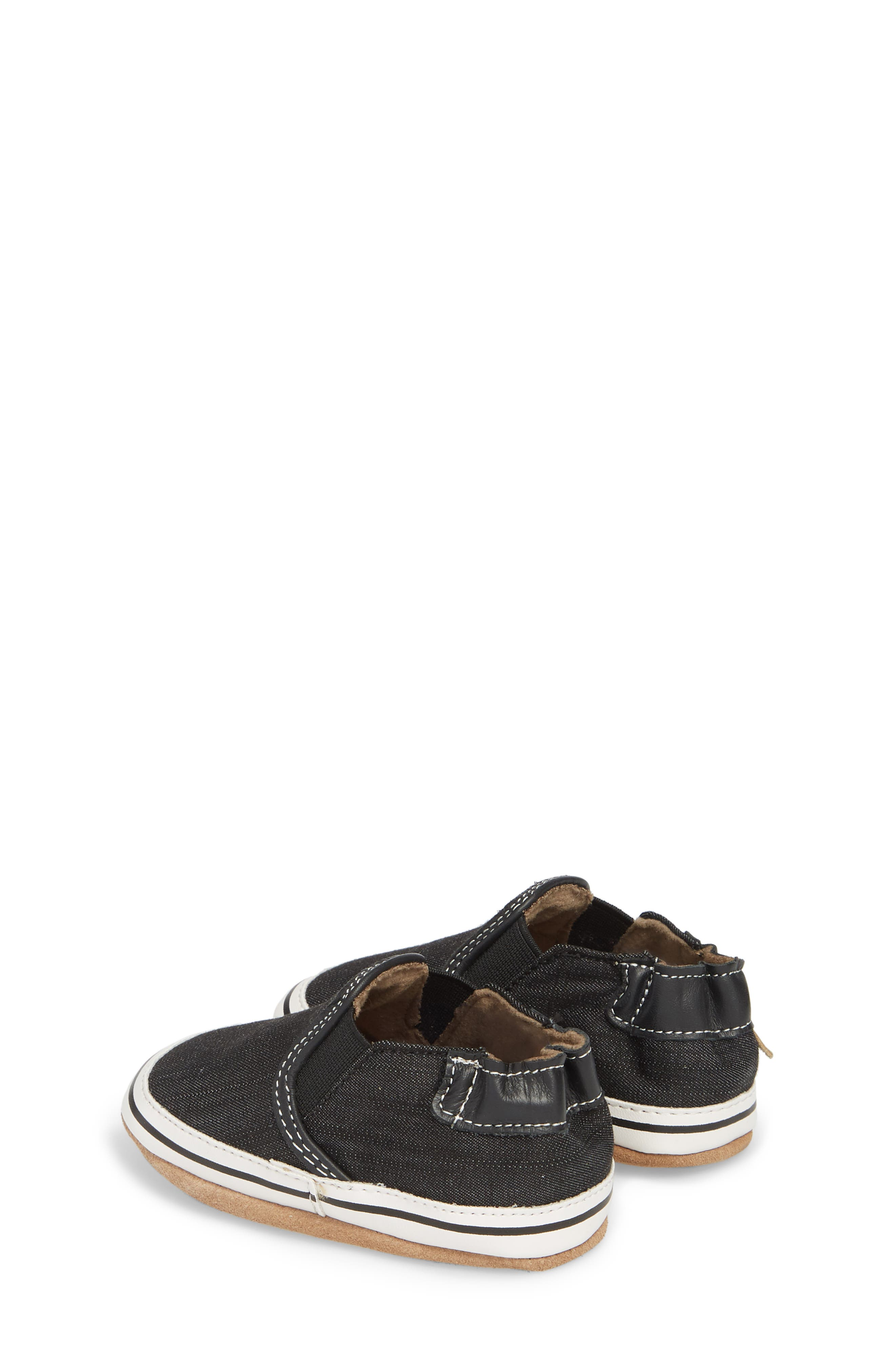 ROBEEZ<SUP>®</SUP>, Liam Slip-On Crib Sneaker, Alternate thumbnail 2, color, BLACK