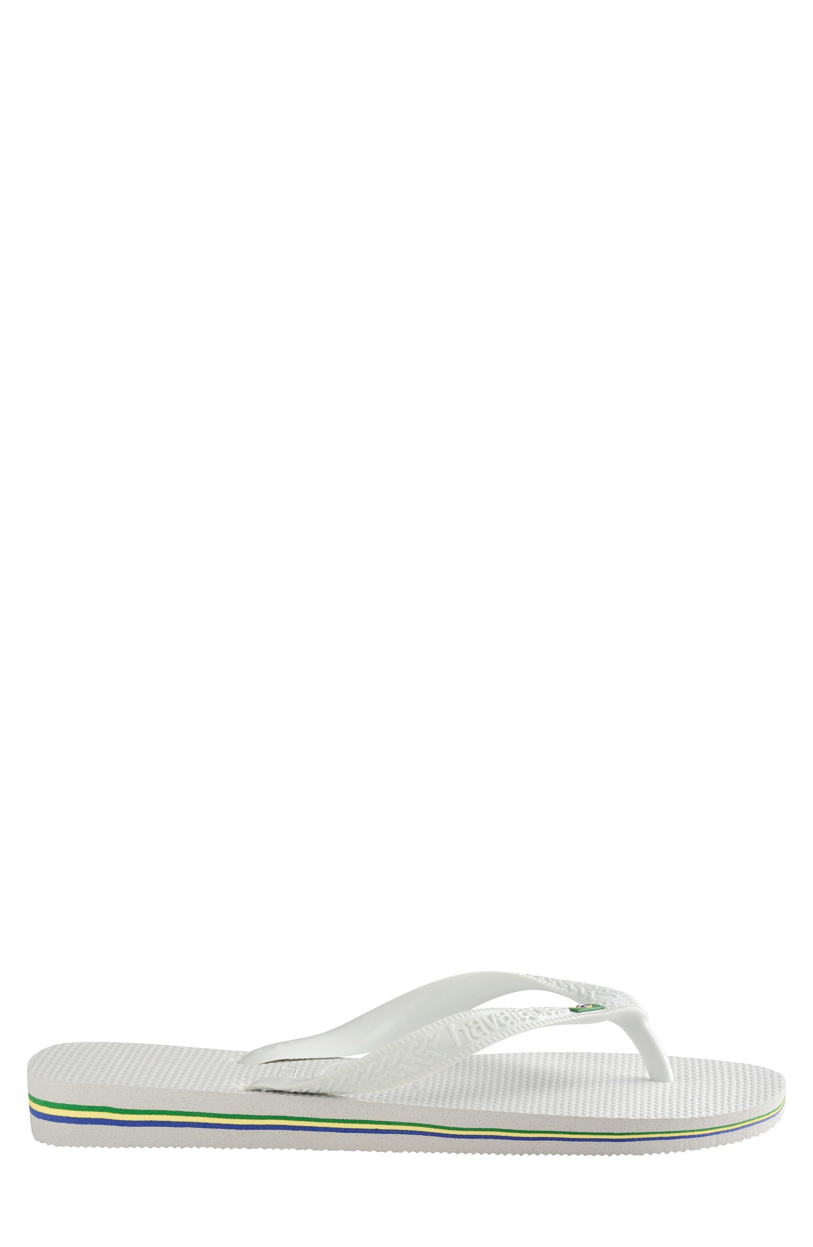 HAVAIANAS, 'Brazil' Flip Flop, Alternate thumbnail 3, color, WHITE