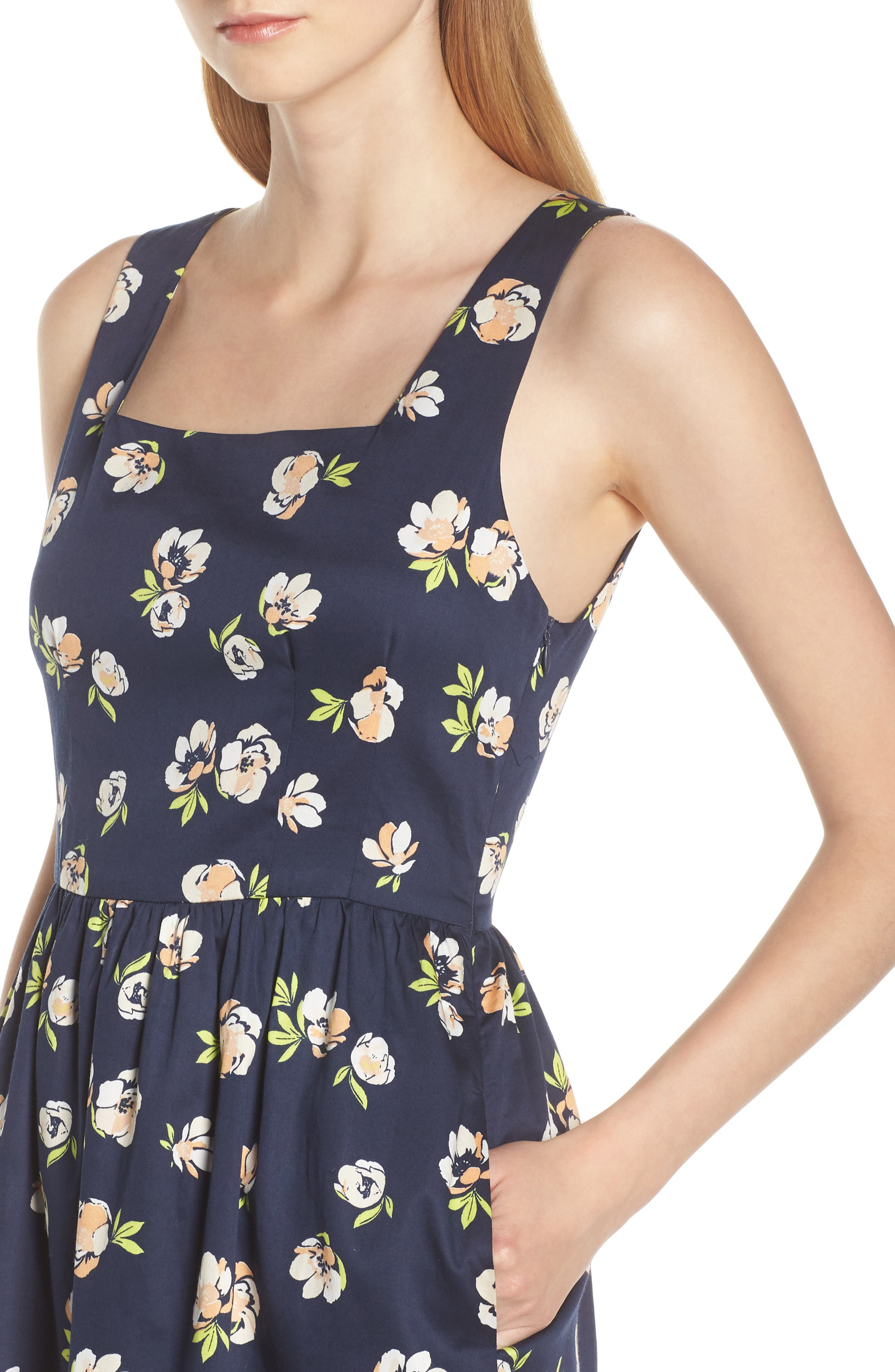 CHARLES HENRY, Sleeveless Fit & Flare Dress, Alternate thumbnail 5, color, NAVY PEACH FLORAL