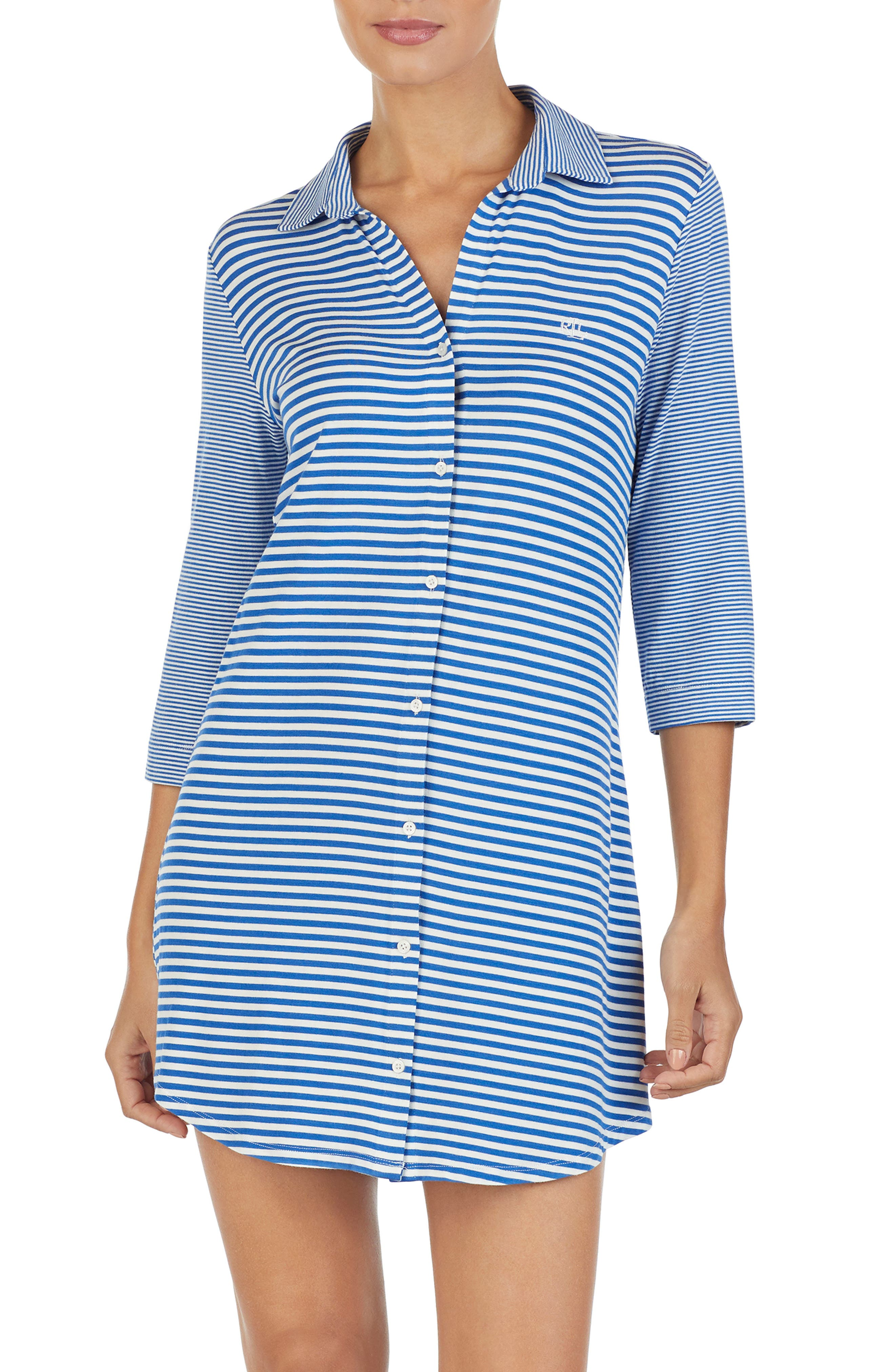 LAUREN RALPH LAUREN, Stripe Sleep Shirt, Main thumbnail 1, color, BLUE STRIPE