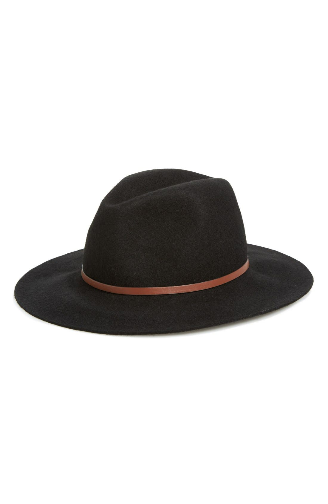 HINGE, Faux Leather Trim Wool Felt Panama Hat, Main thumbnail 1, color, 001