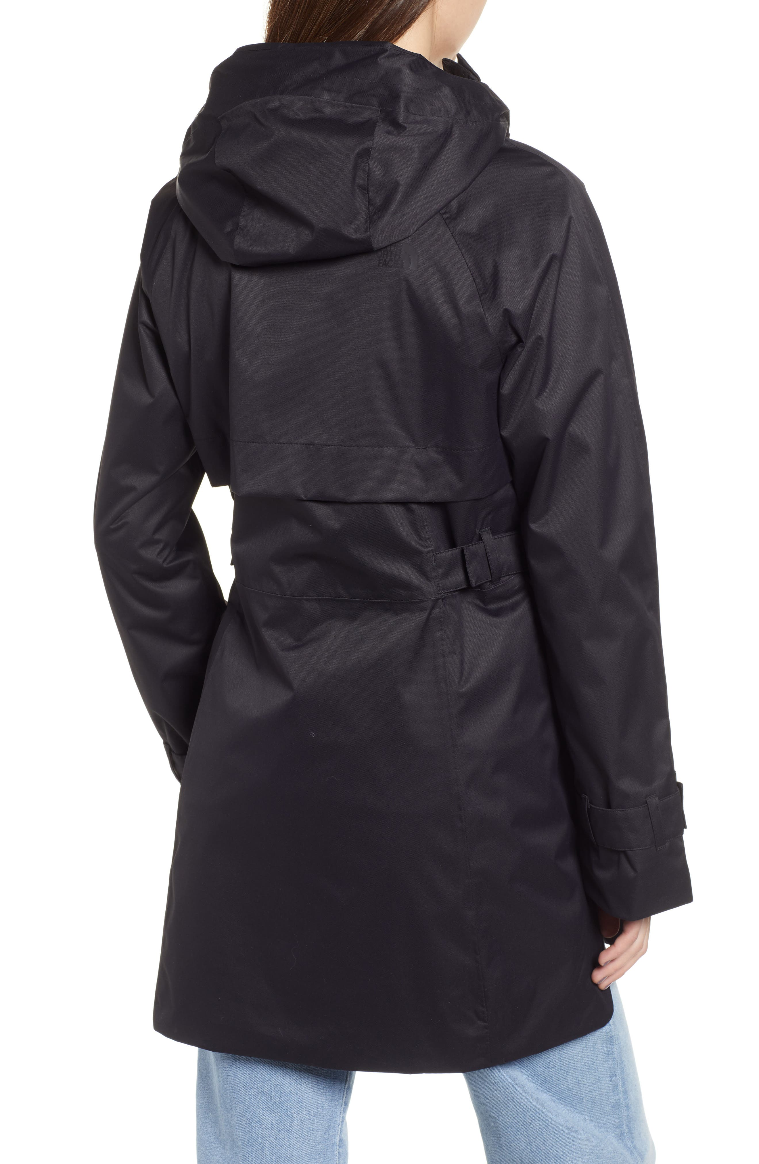 THE NORTH FACE, City Breeze Trench Raincoat, Alternate thumbnail 2, color, TNF BLACK