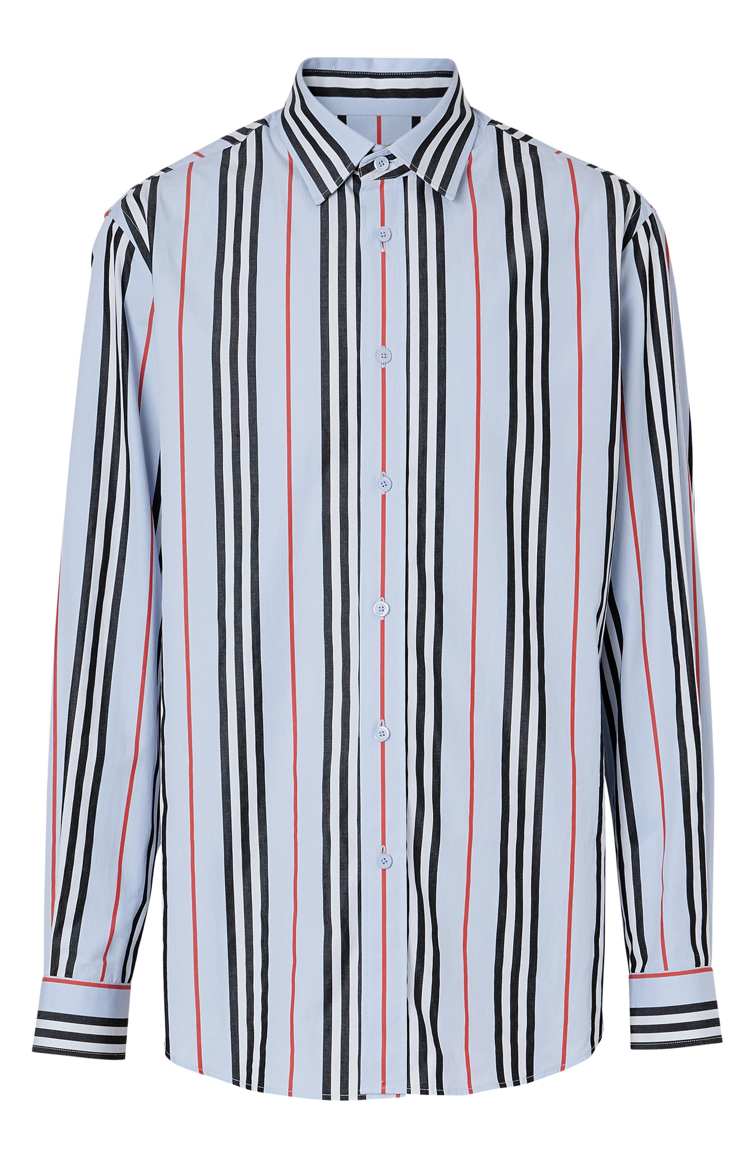 BURBERRY, Icon Stripe Shirt, Alternate thumbnail 5, color, PALE BLUE