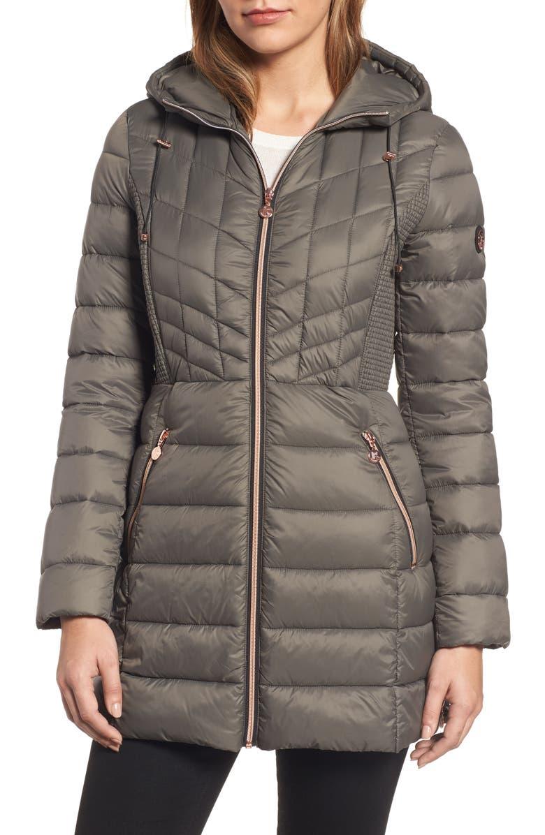 74caf3ea3d831 Bernardo Hooded Packable Down   PrimaLoft® Coat (Regular   Petite ...