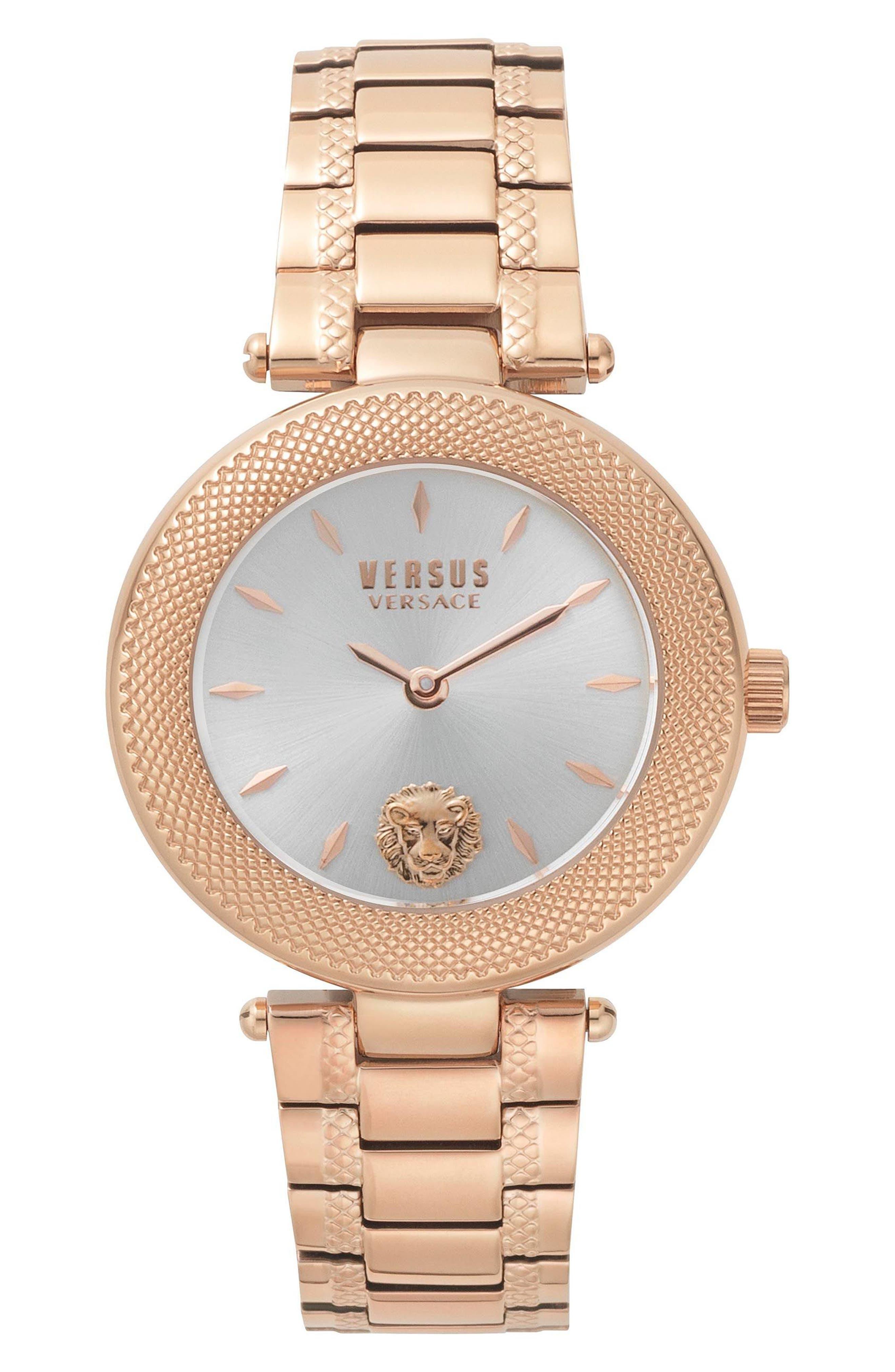 VERSUS VERSACE Bricklane Watch Set, 36mm, Main, color, ROSE GOLD/ SILVER