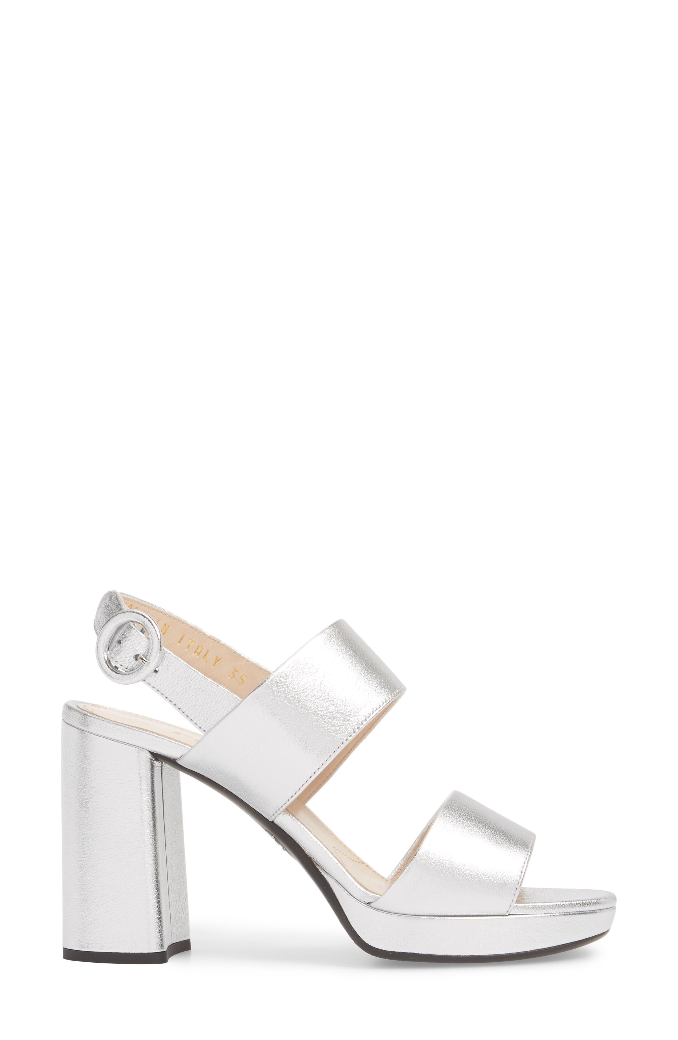 PRADA, Double Band Platform Sandal, Alternate thumbnail 3, color, SILVER