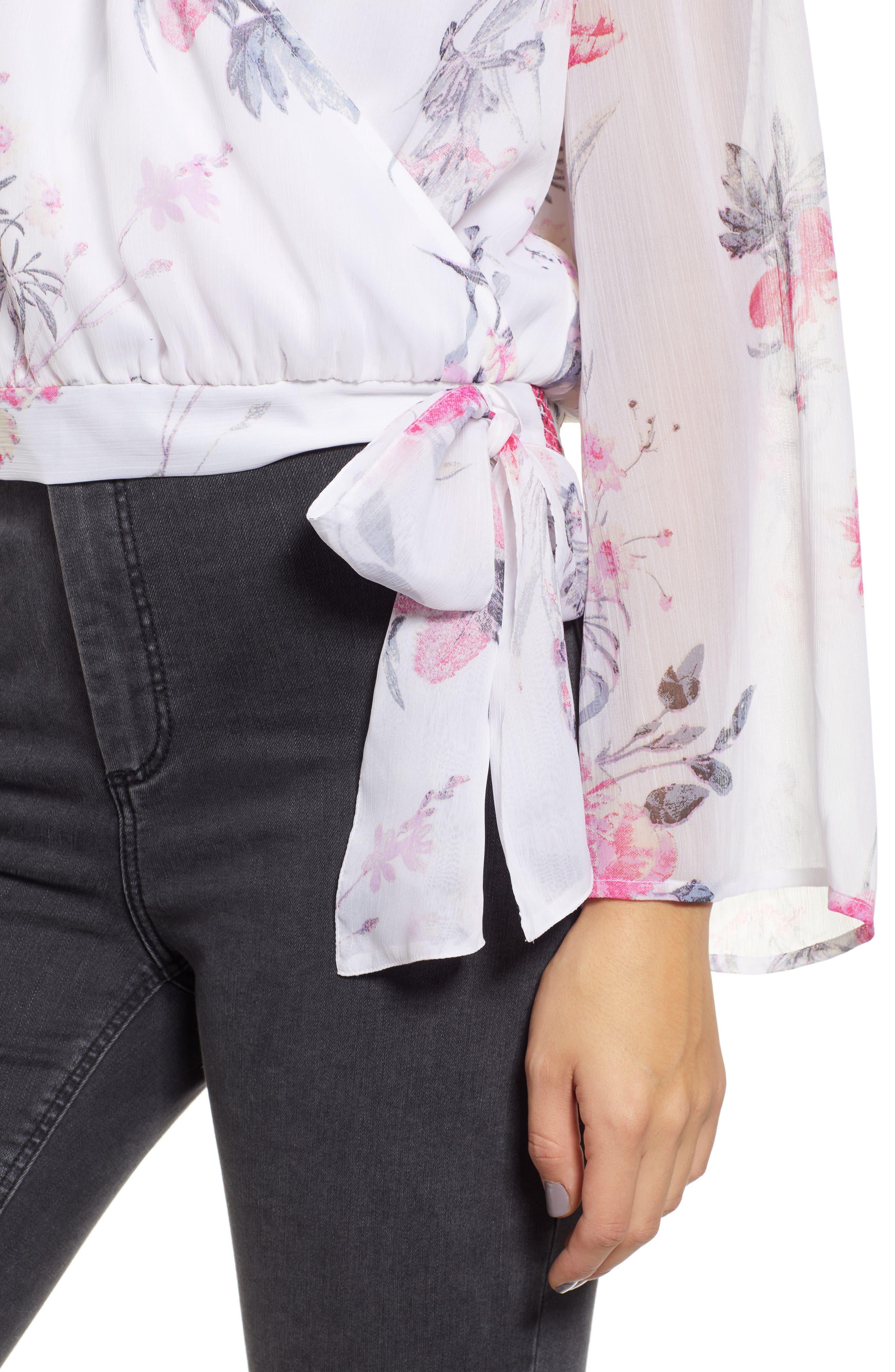 LEITH, Floral Faux Wrap Top, Alternate thumbnail 4, color, WHITE ROMANTIC BLOOMS