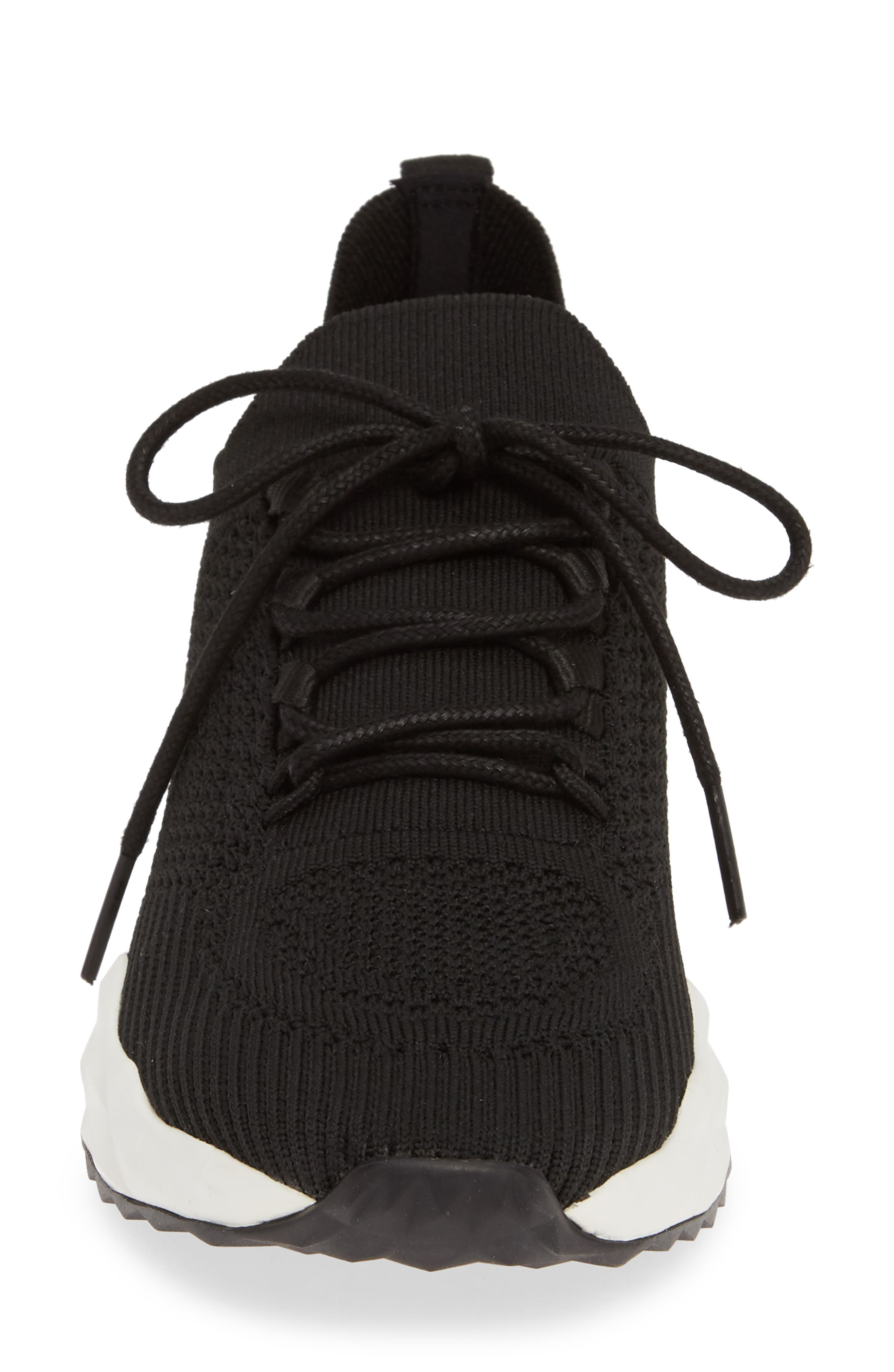 ASH, Knit Skate Sneaker, Alternate thumbnail 4, color, BLACK/ BLACK