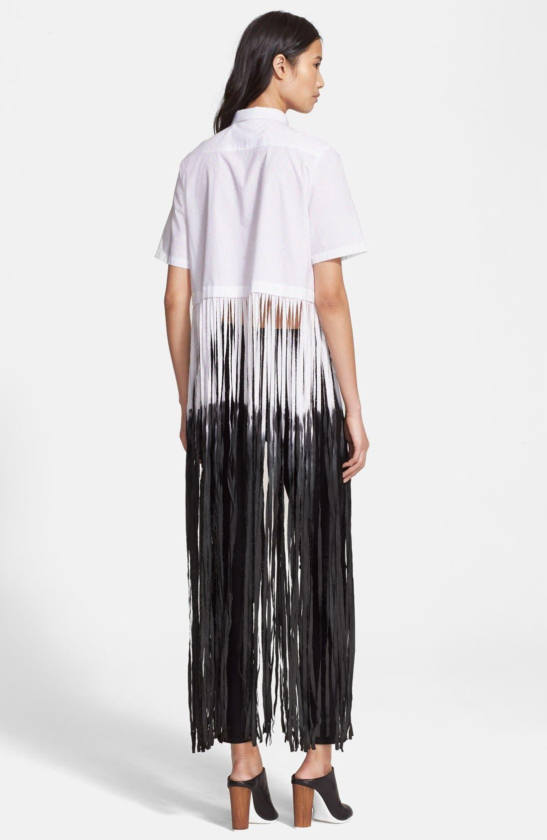 EACH X OTHER, Dip Dyed Long Fringe Cotton Poplin Shirt, Alternate thumbnail 2, color, 100