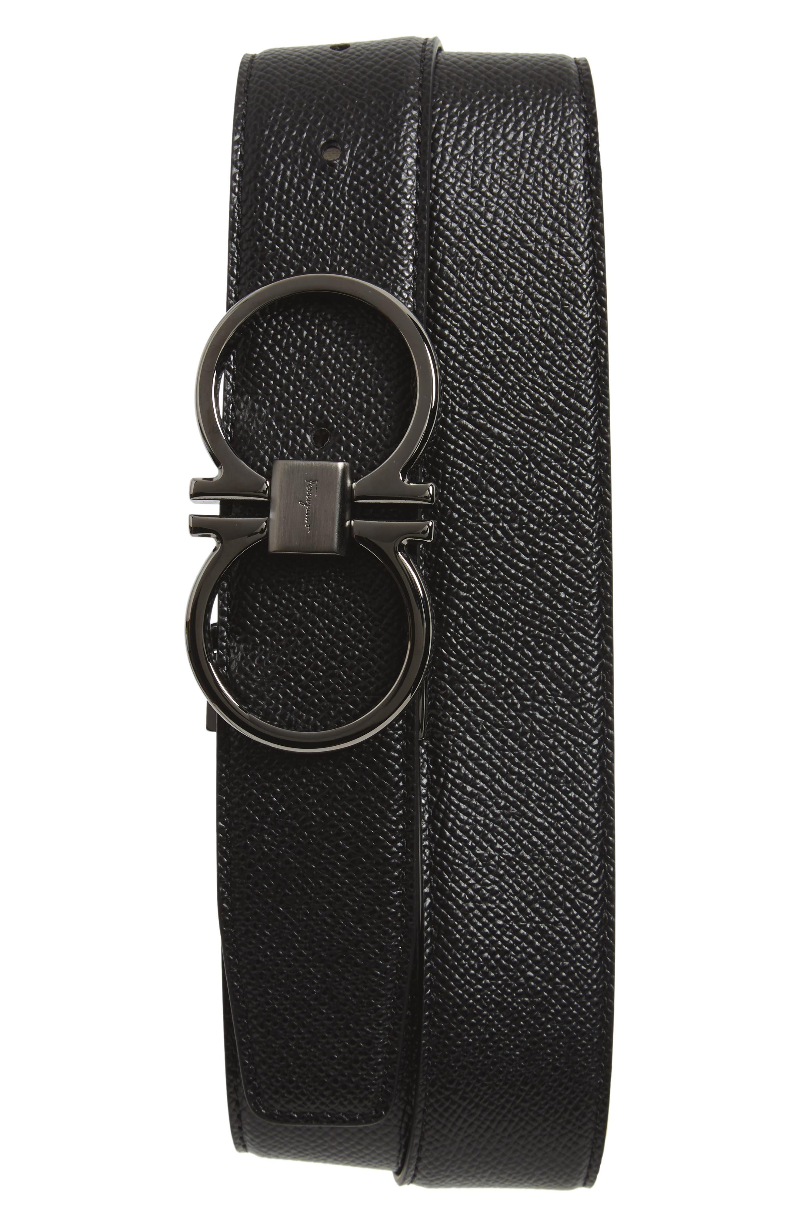SALVATORE FERRAGAMO, Double Gancio Leather Belt, Main thumbnail 1, color, BLACK/ T MORO