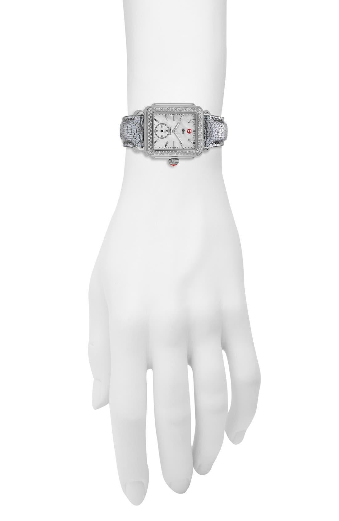 MICHELE, Deco 16 Diamond Watch Head, 29mm x 31mm, Alternate thumbnail 7, color, SILVER