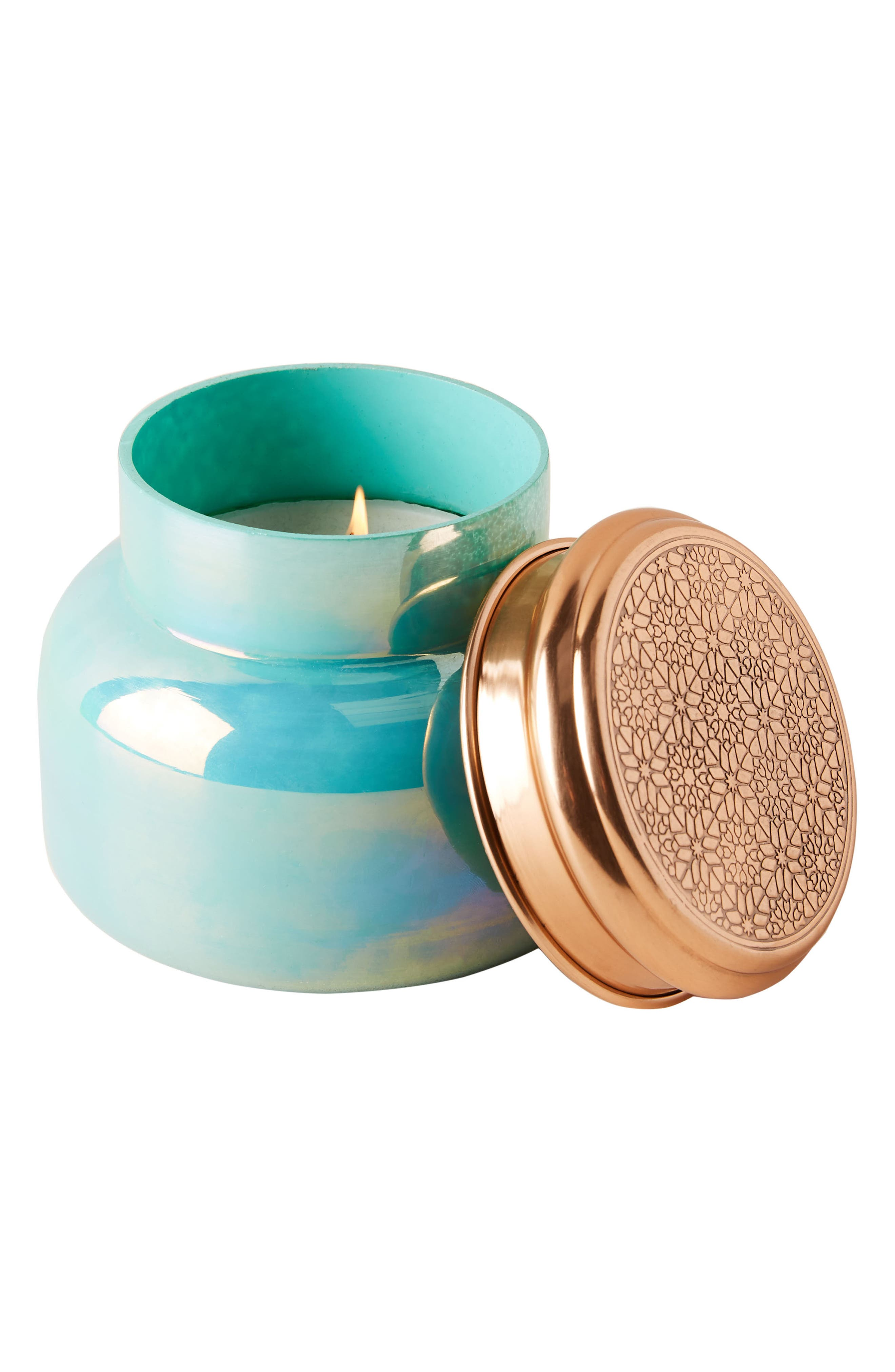 ANTHROPOLOGIE, Turquoise Opal Jar Candle, Alternate thumbnail 3, color, LOLA BLOSSOM