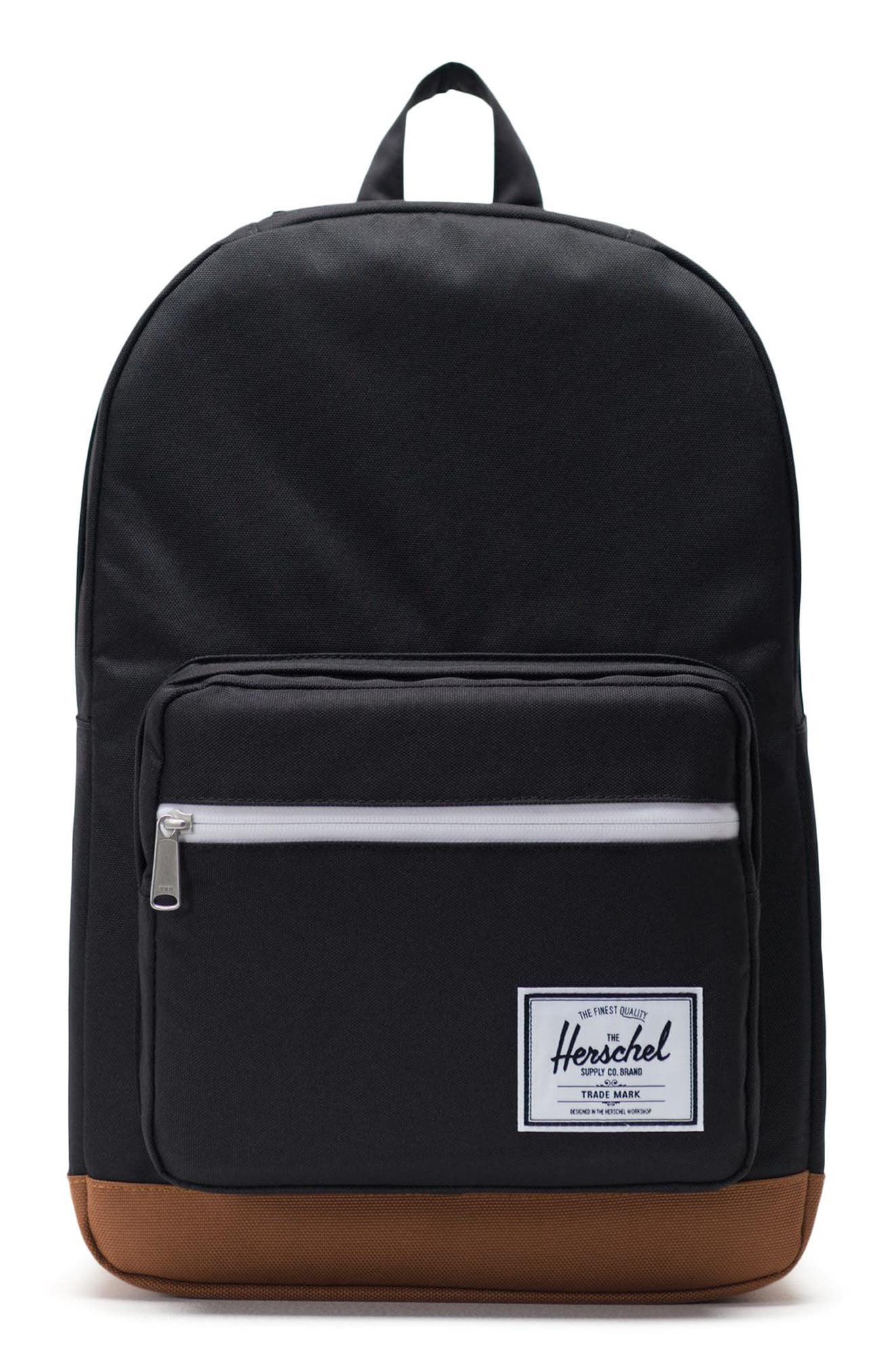 HERSCHEL SUPPLY CO., Pop Quiz Backpack, Main thumbnail 1, color, BLACK/ SADDLE BROWN