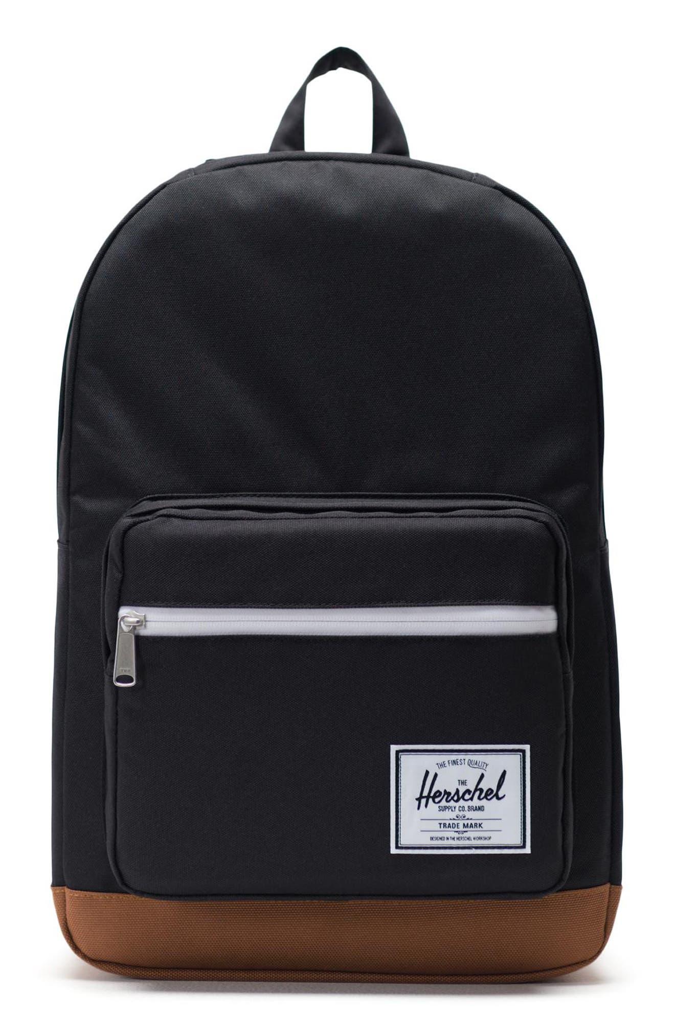 HERSCHEL SUPPLY CO. Pop Quiz Backpack, Main, color, BLACK/ SADDLE BROWN