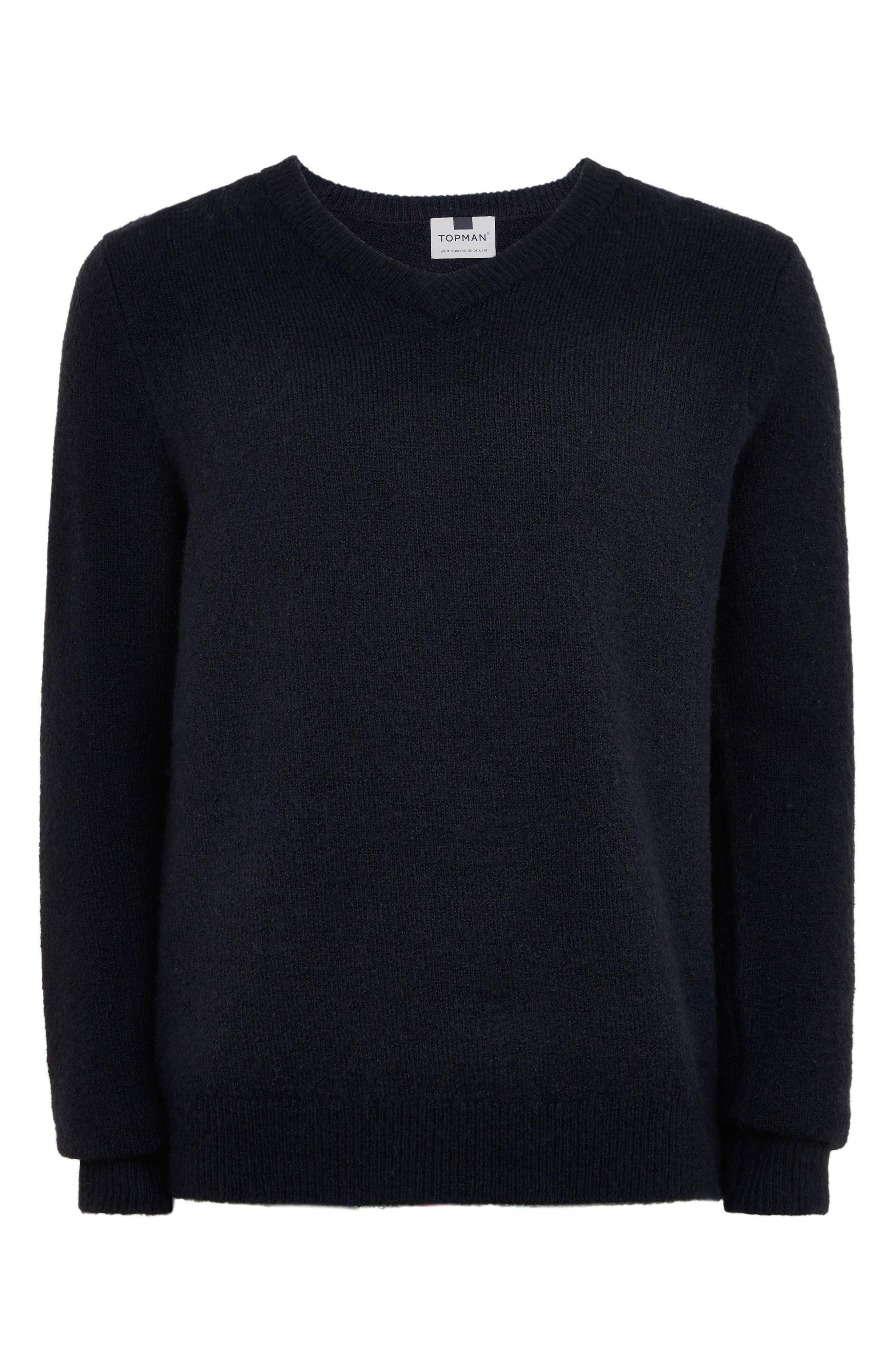 TOPMAN, V-Neck Sweater, Alternate thumbnail 4, color, 411