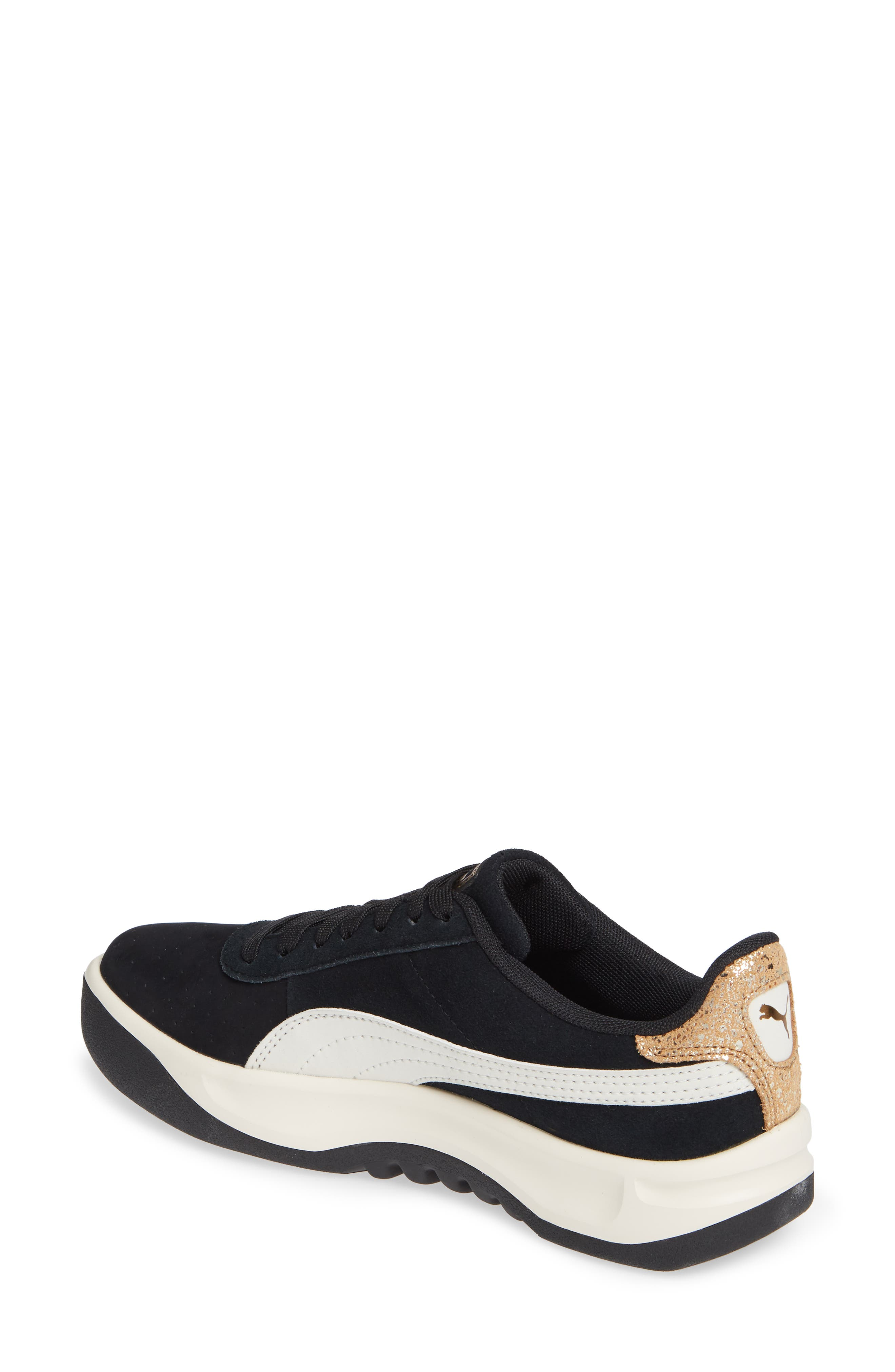 PUMA, California Metallic Sneaker, Alternate thumbnail 2, color, BLACK/ WHITE/ METALLIC BRONZE
