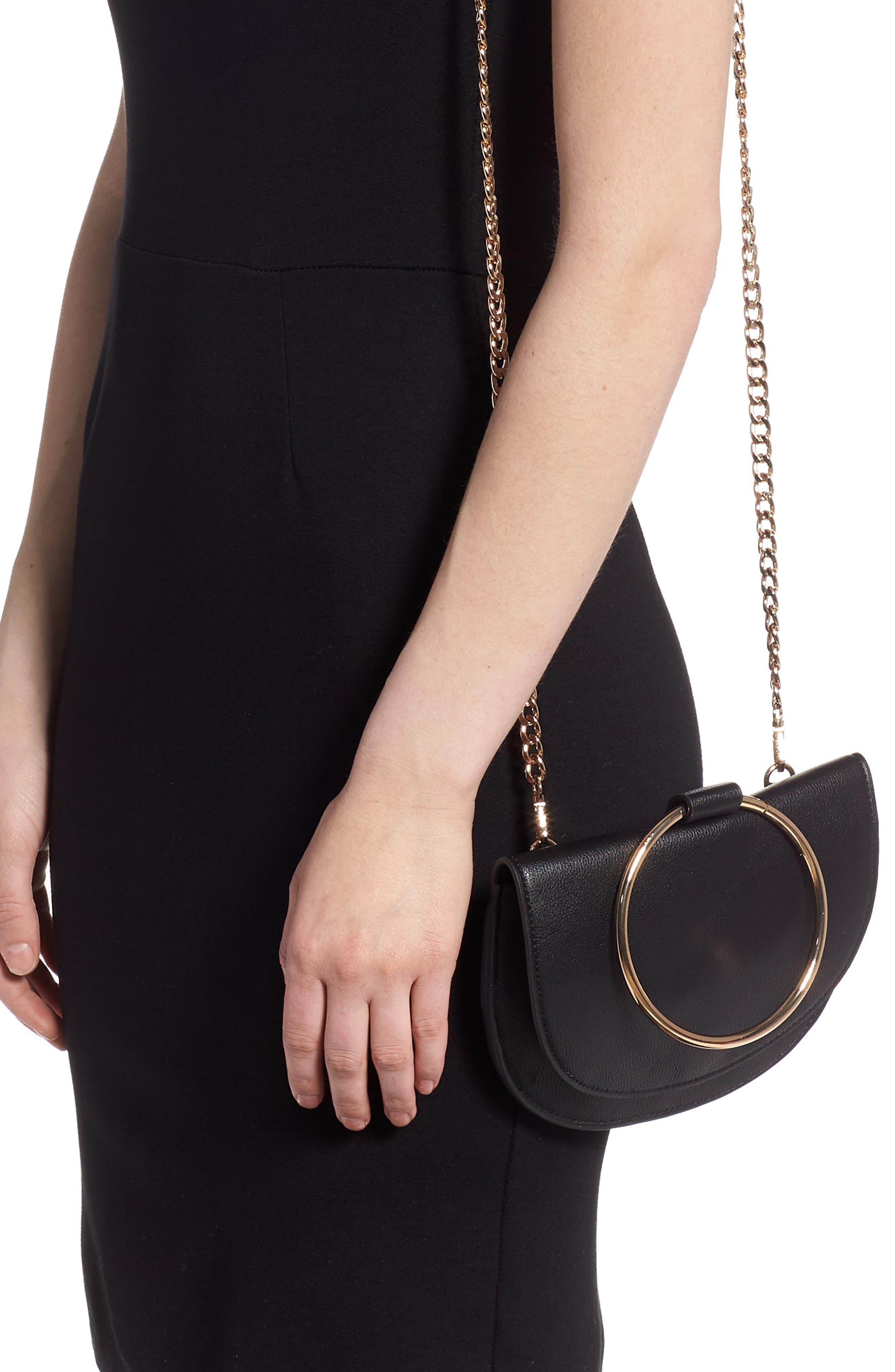 TROUVÉ, Reese Faux Leather Ring Crossbody Bag, Alternate thumbnail 2, color, BLACK