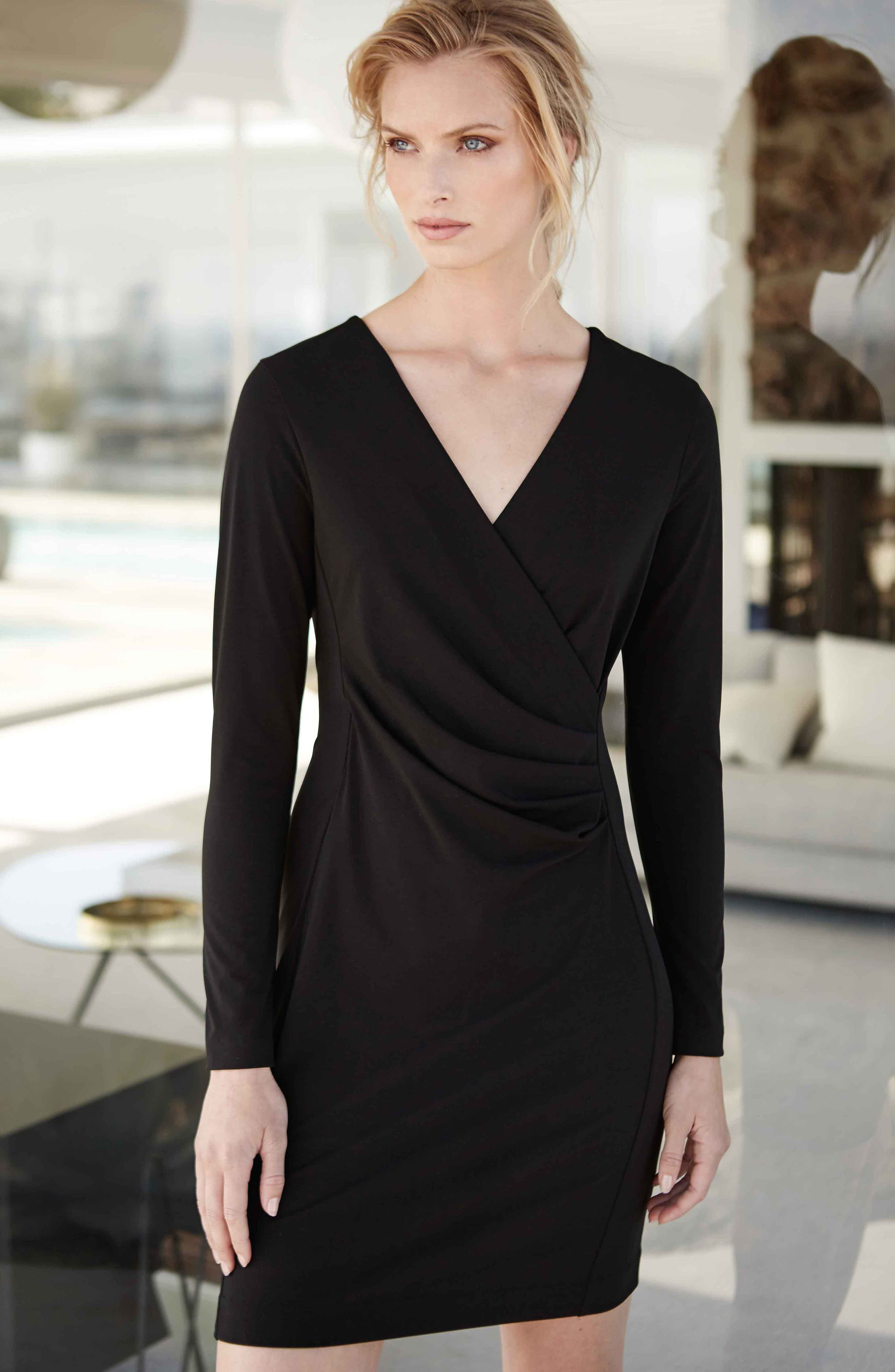 KAREN KANE, Faux Wrap Dress, Alternate thumbnail 5, color, BLACK