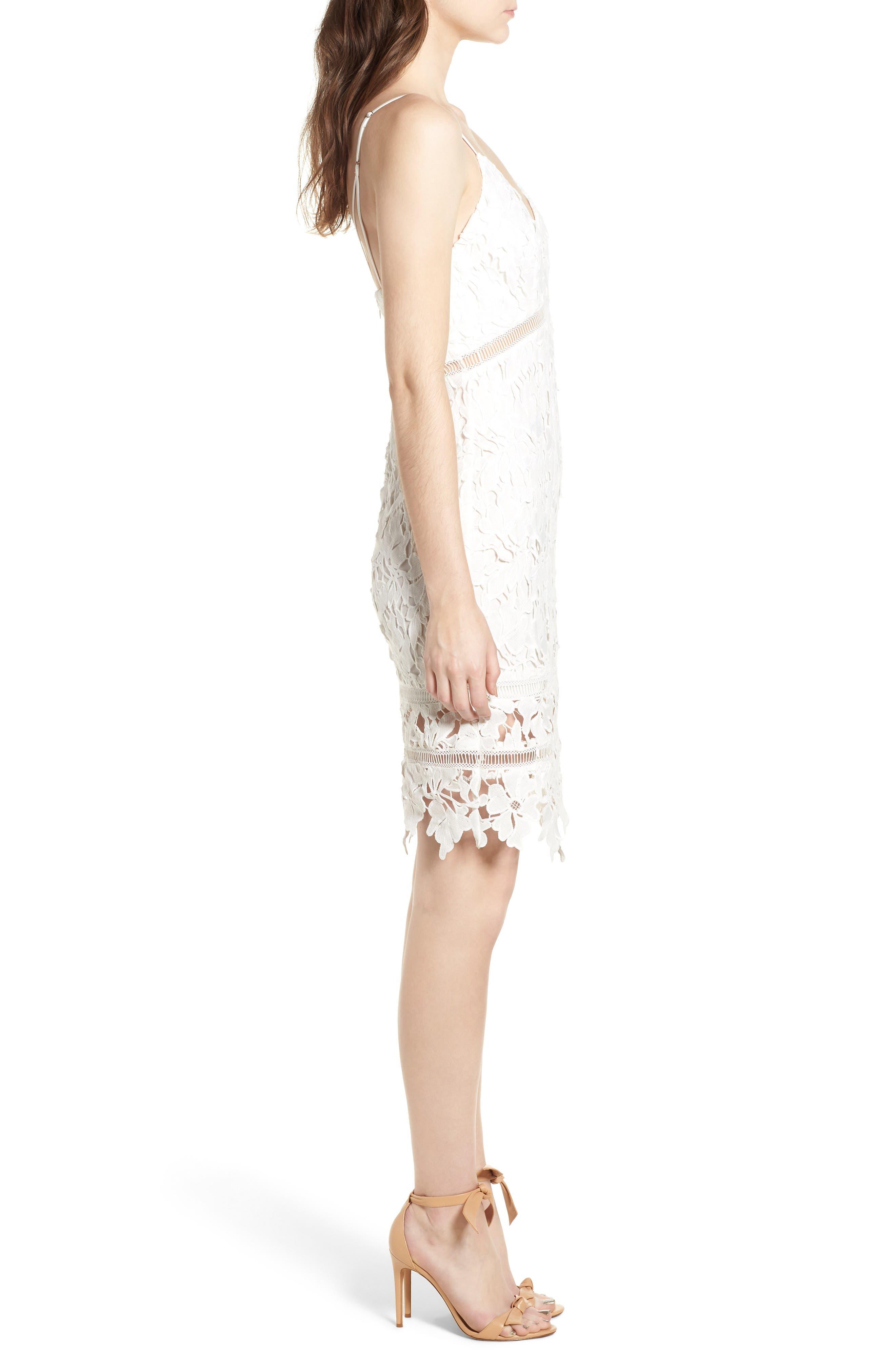 ASTR THE LABEL, ASTR Lace Bodycon Dress, Alternate thumbnail 4, color, WHITE