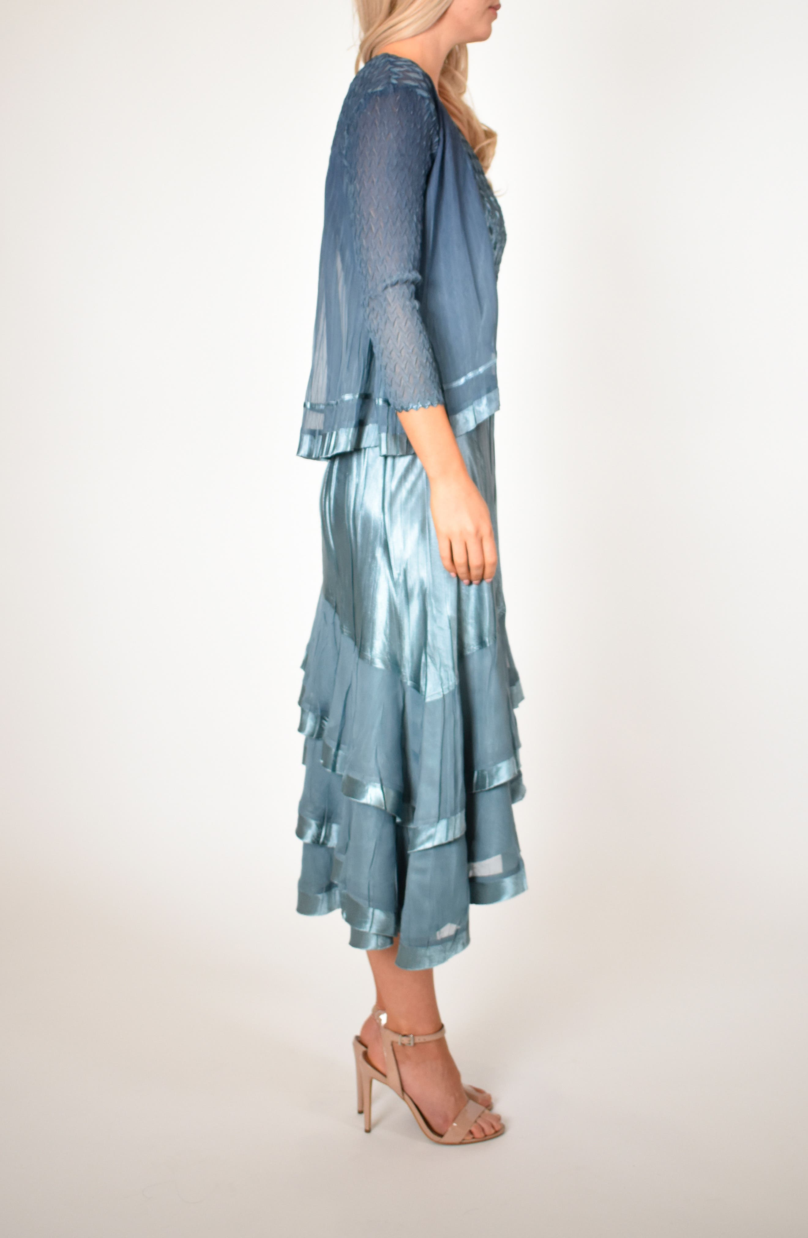KOMAROV, Asymmetrical Jacket Dress, Alternate thumbnail 10, color, SILVER BLUE NIGHT OMBRE
