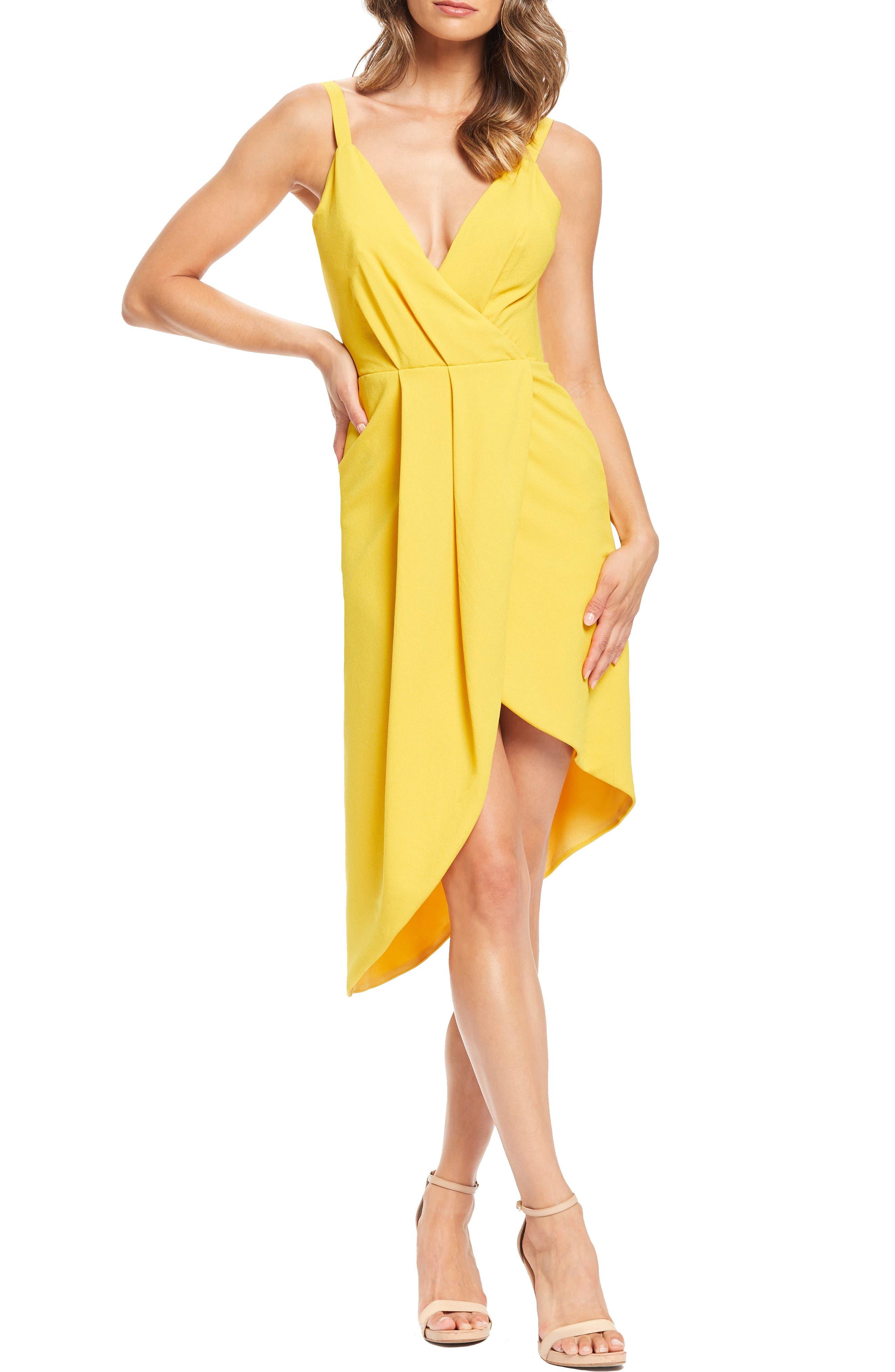 Dress The Population Owen Plunge Neck Faux Wrap Dress, Yellow