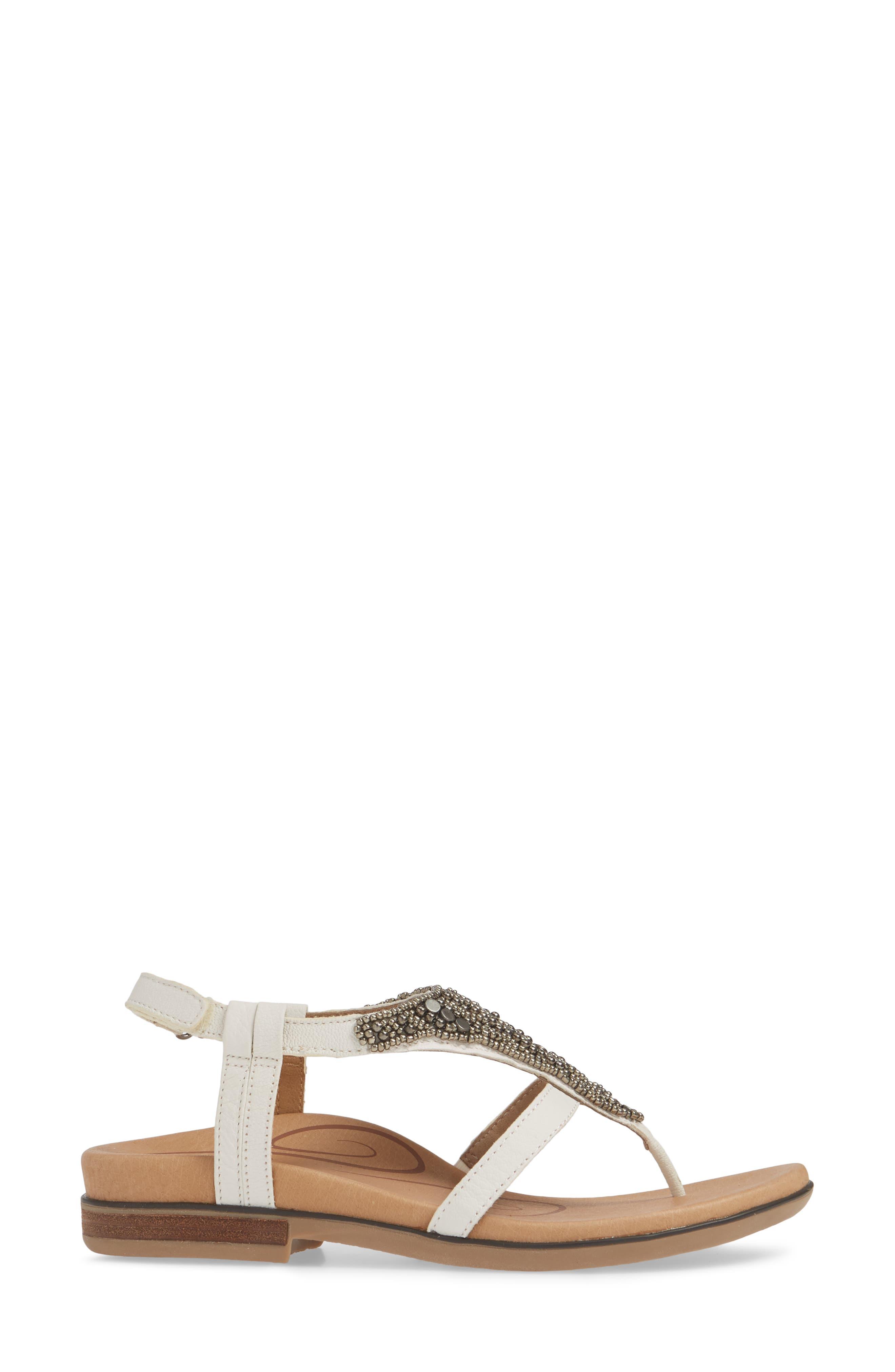 AETREX, Sheila Embellished Sandal, Alternate thumbnail 3, color, WHITE LEATHER