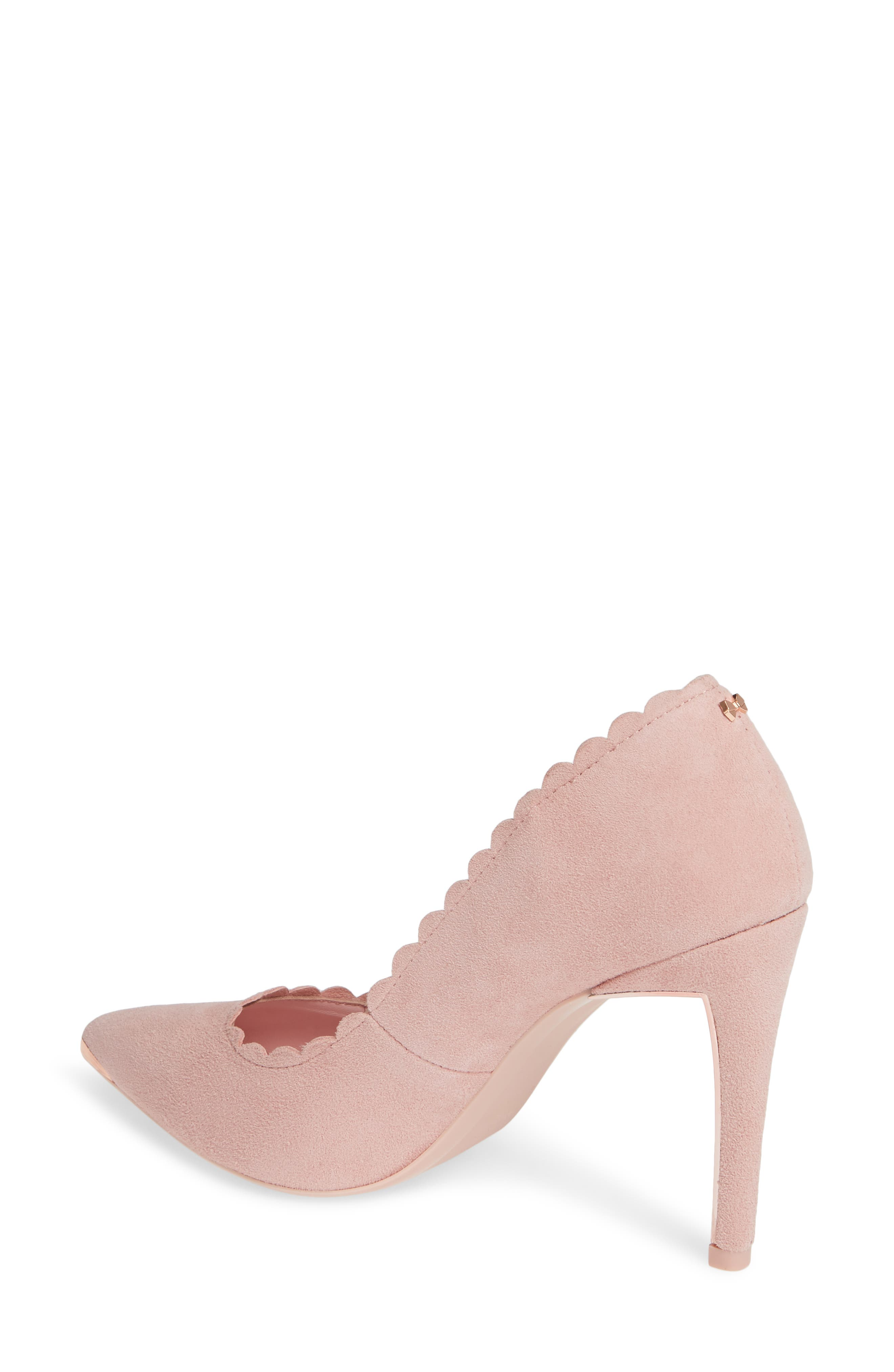 TED BAKER LONDON, Sloana Pointy Toe Pump, Alternate thumbnail 2, color, PINK BLOSSOM SUEDE