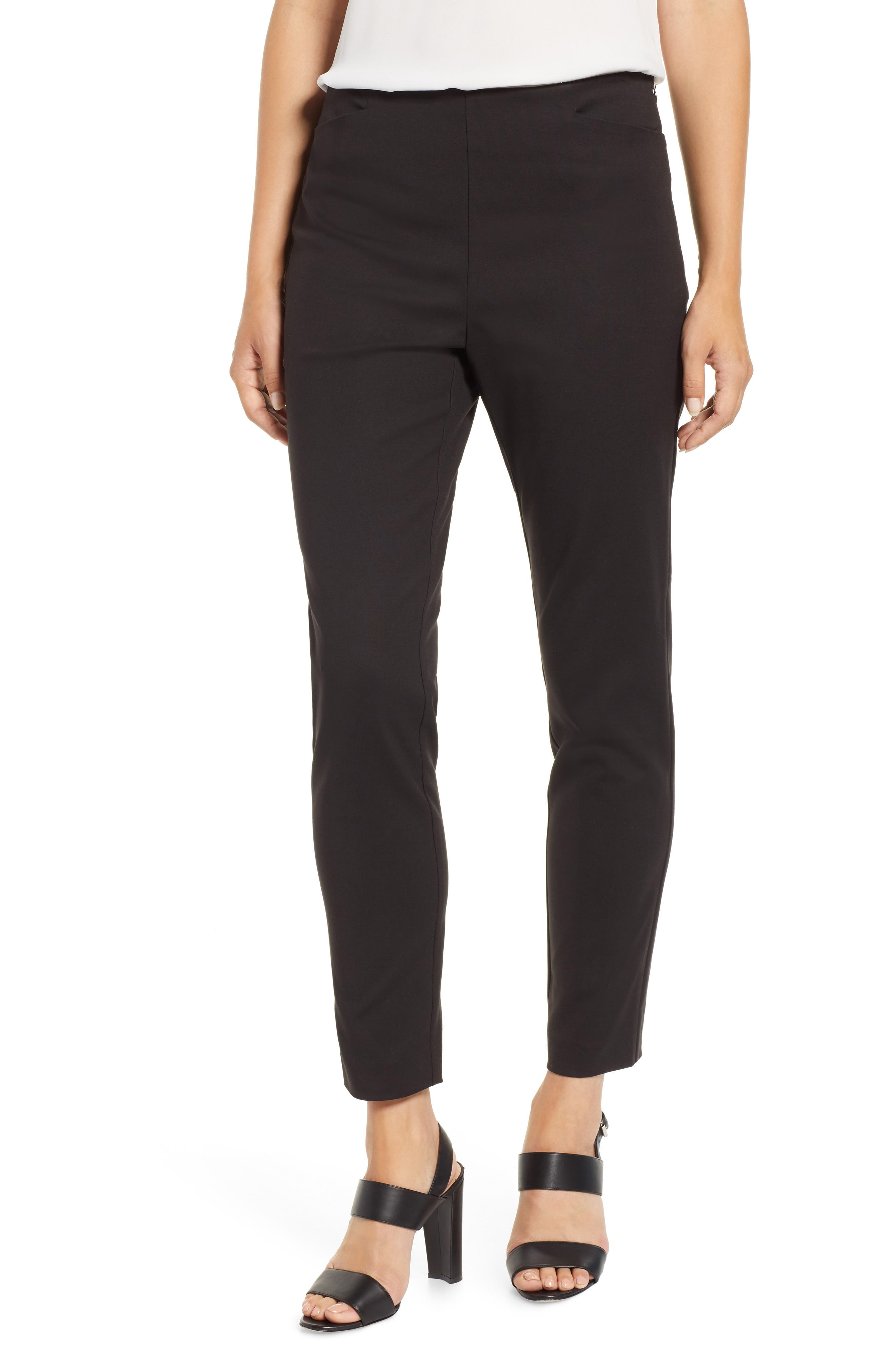 VINCE CAMUTO, Side Zip Stretch Cotton Blend Pants, Main thumbnail 1, color, RICH BLACK