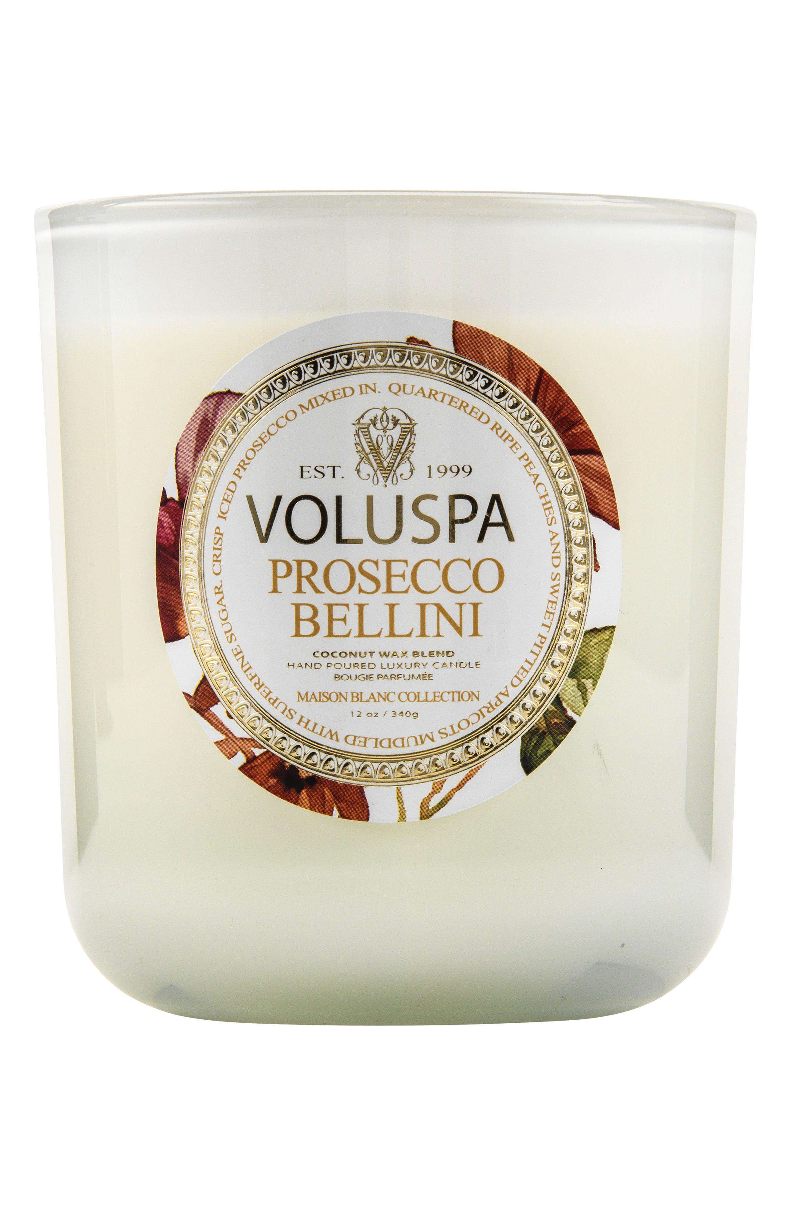 VOLUSPA, Maison Blanc Prosecco Bellini Classic Maison Candle, Main thumbnail 1, color, PROSECCO BELLINI
