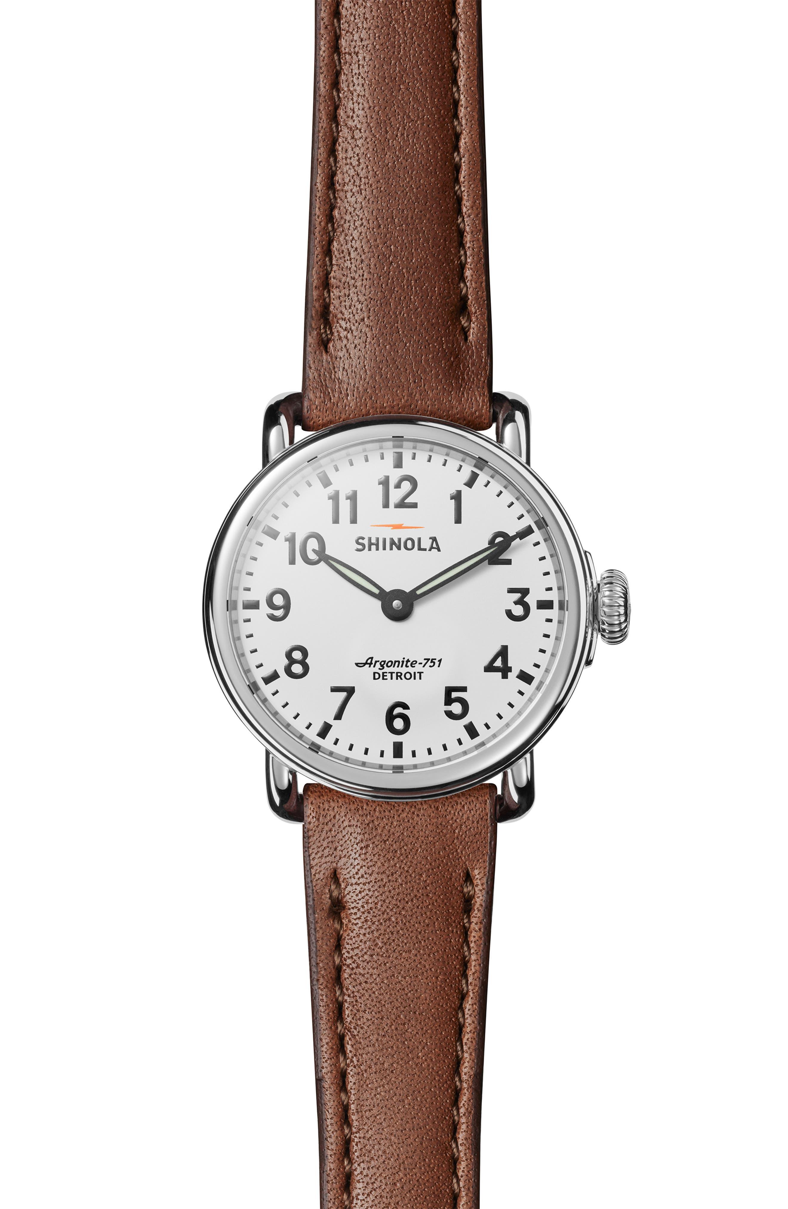 SHINOLA, The Runwell Leather Strap Watch, 28mm, Main thumbnail 1, color, DARK COGNAC/ WHITE/ SILVER