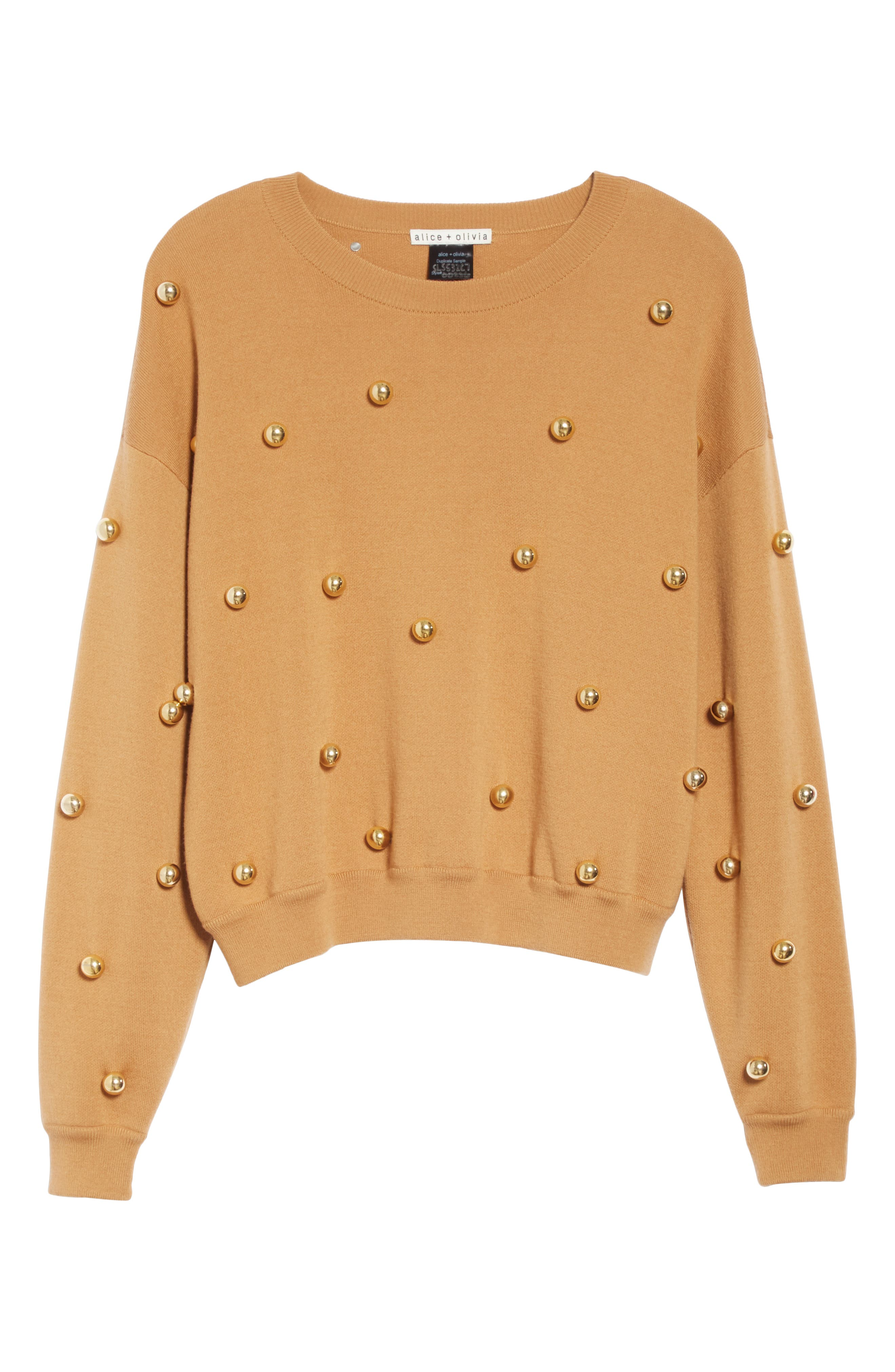 ALICE + OLIVIA, Gleeson Metal Ball Detail Wool Blend Sweater, Alternate thumbnail 6, color, 200
