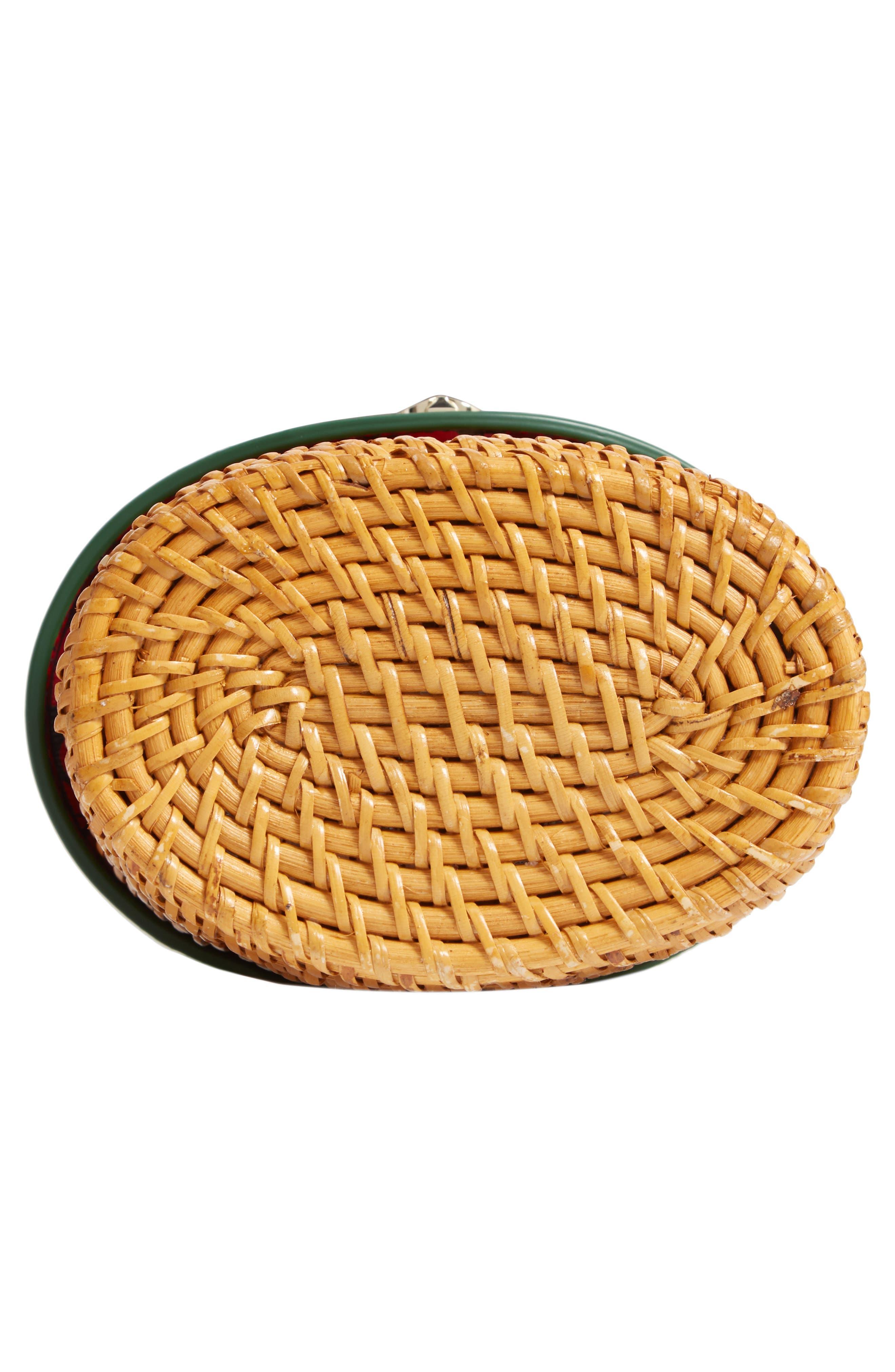KATE SPADE NEW YORK, mini rose rattan bucket bag, Alternate thumbnail 6, color, GREEN BEAN