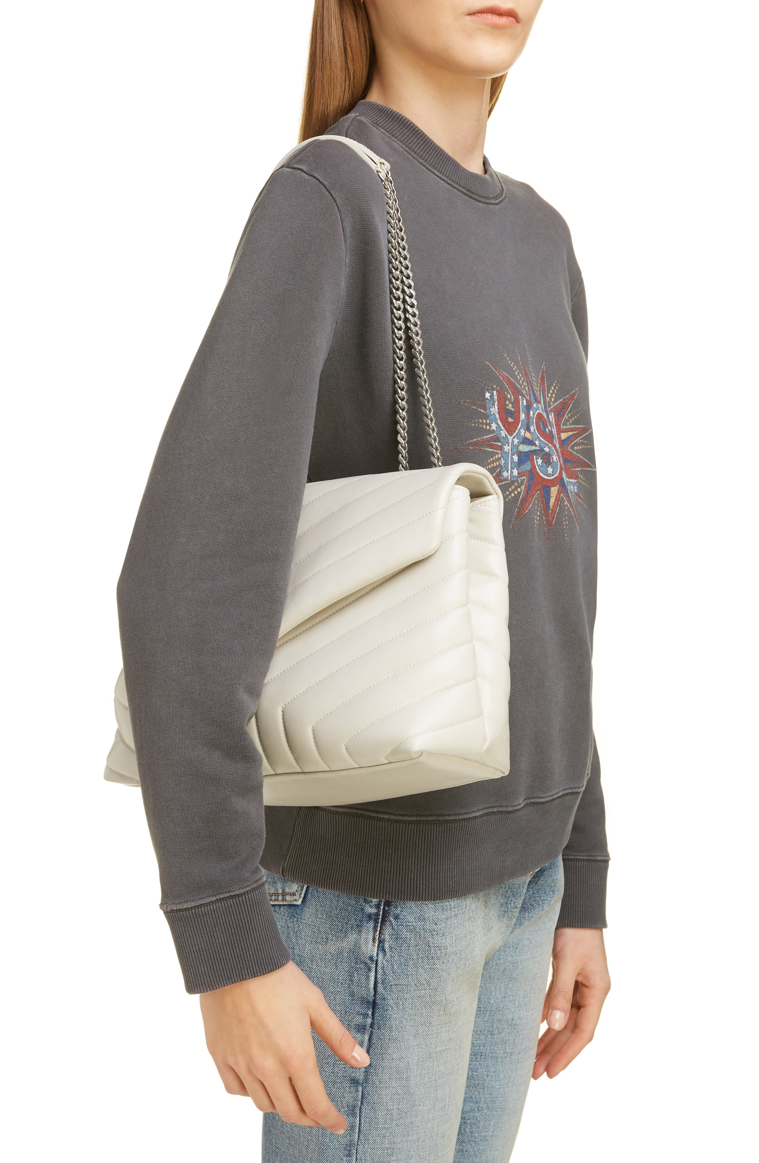 SAINT LAURENT, Medium Loulou Calfskin Leather Shoulder Bag, Alternate thumbnail 2, color, CREMA SOFT/ CREMA SOFT