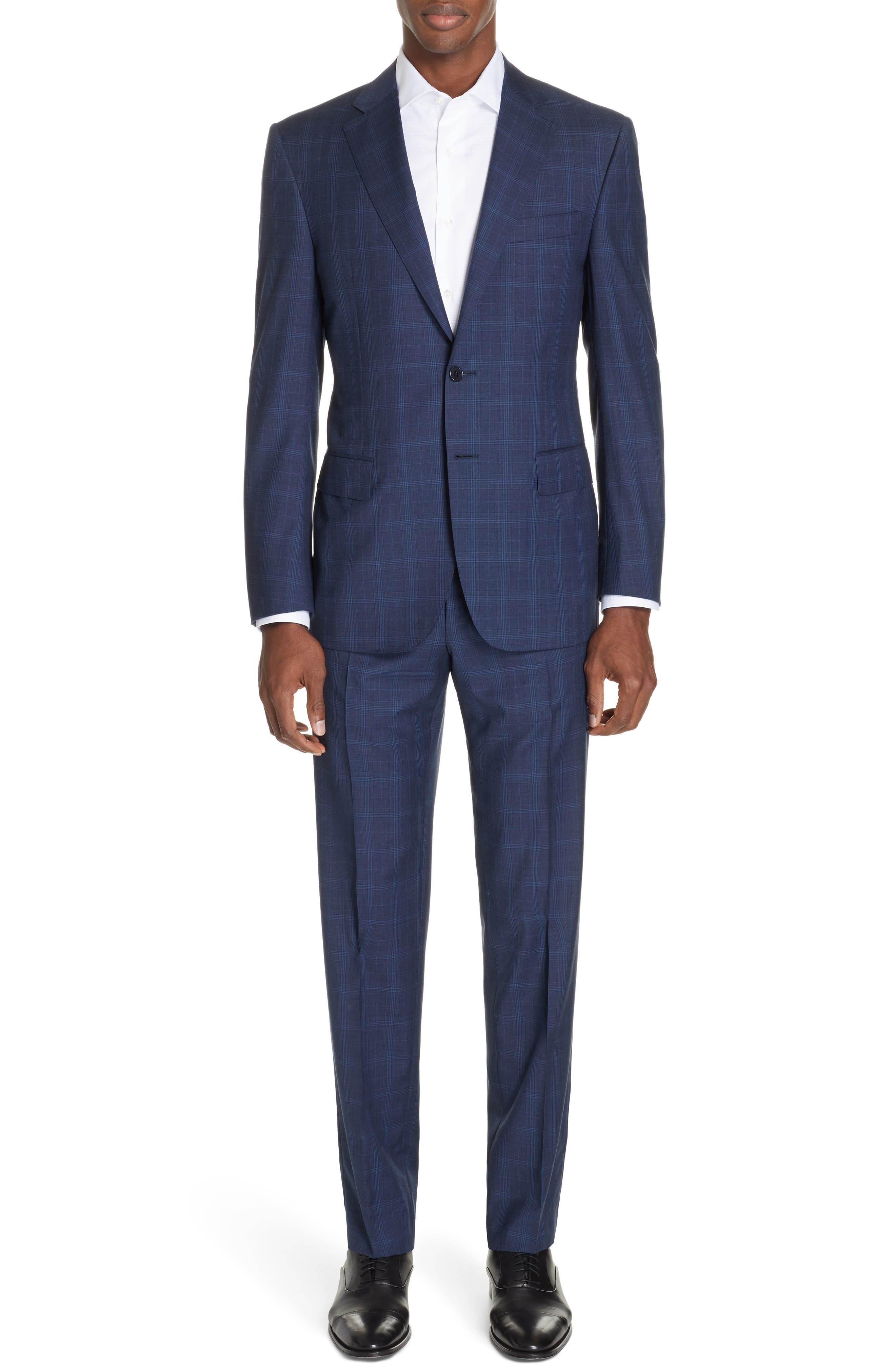 CANALI, Sienna Classic Fit Plaid Wool Suit, Main thumbnail 1, color, NAVY