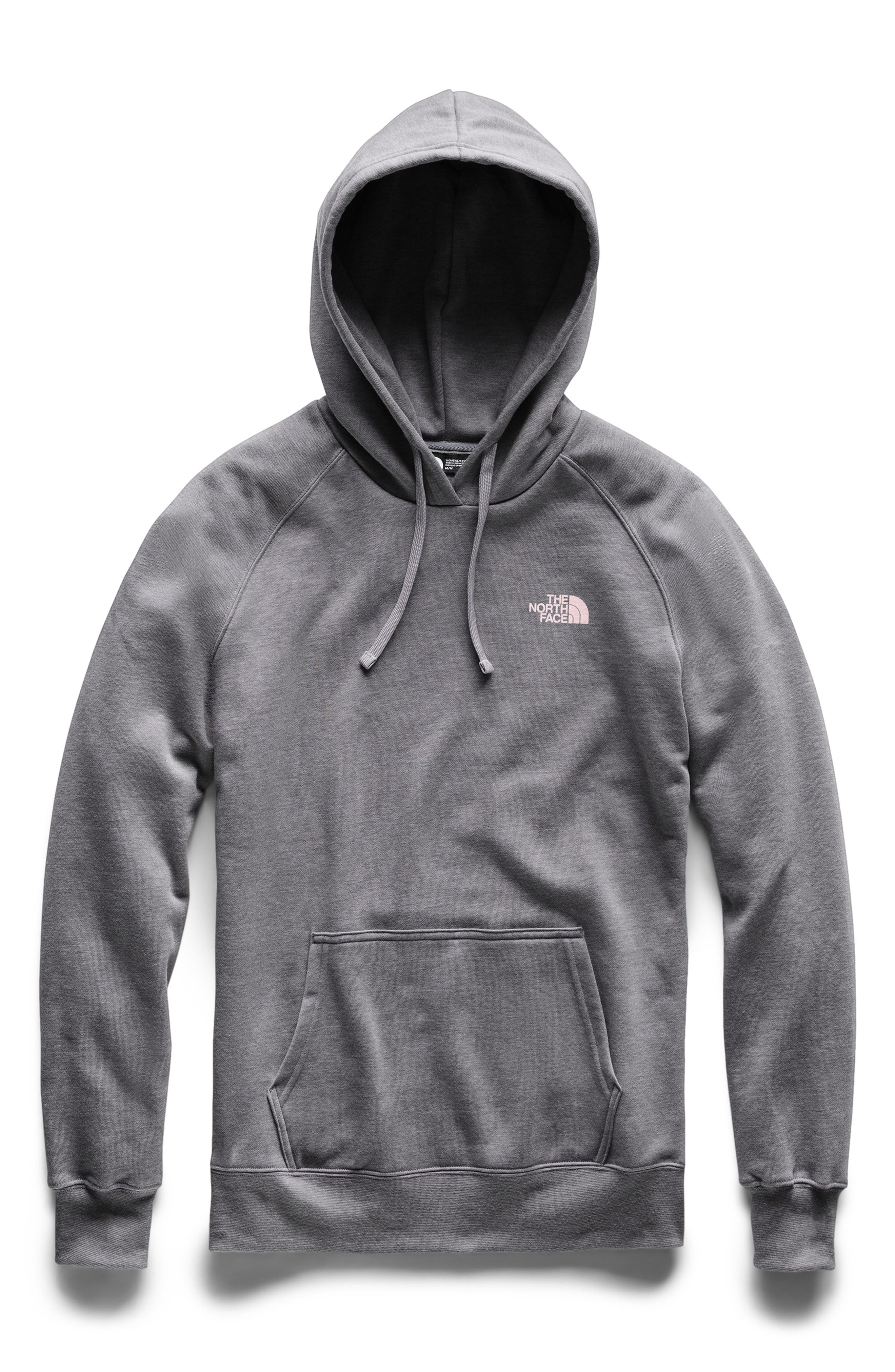 THE NORTH FACE, Red Box Hoodie, Main thumbnail 1, color, TNF MEDIUM GREY/ PINK SALT