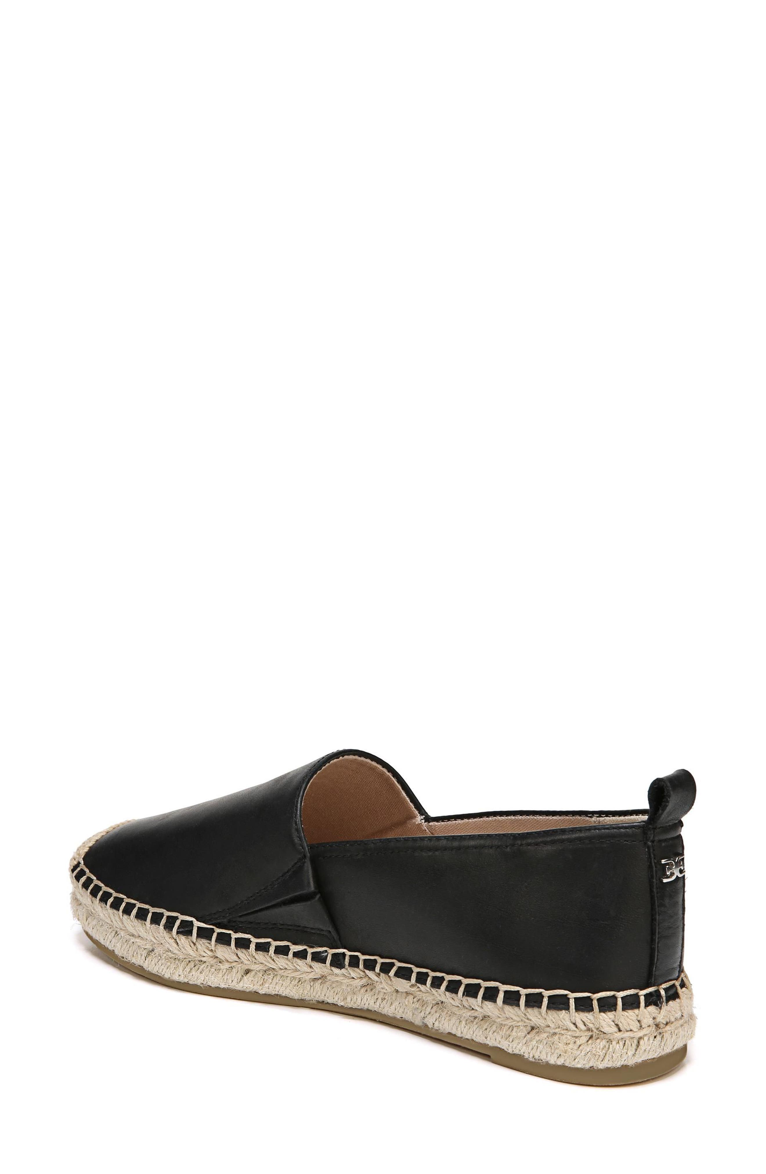 SAM EDELMAN, Khloe Espadrille Flat, Alternate thumbnail 2, color, BLACK LEATHER