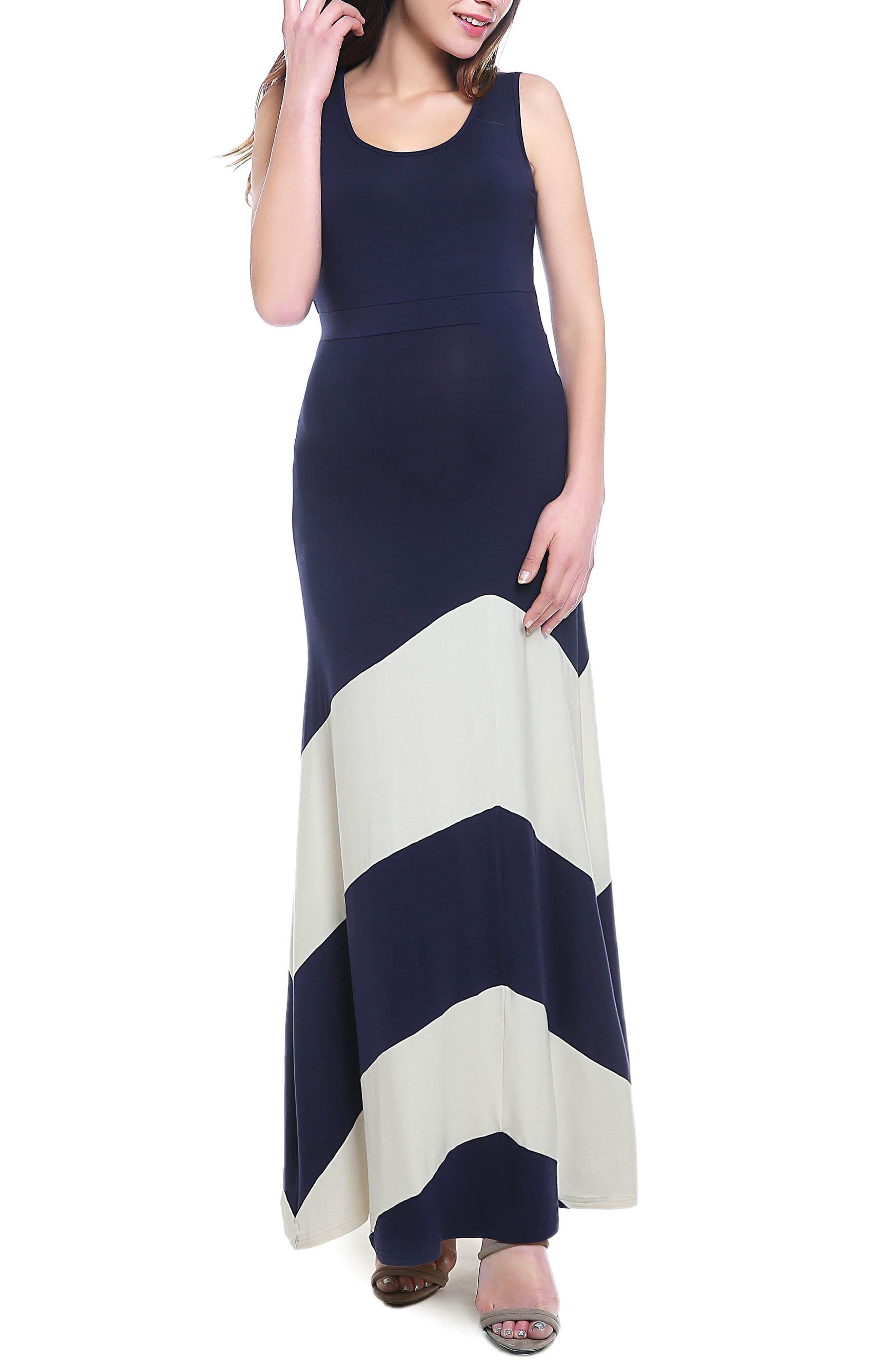 Kimi And Kai Sally Maternity Maxi Dress, Blue
