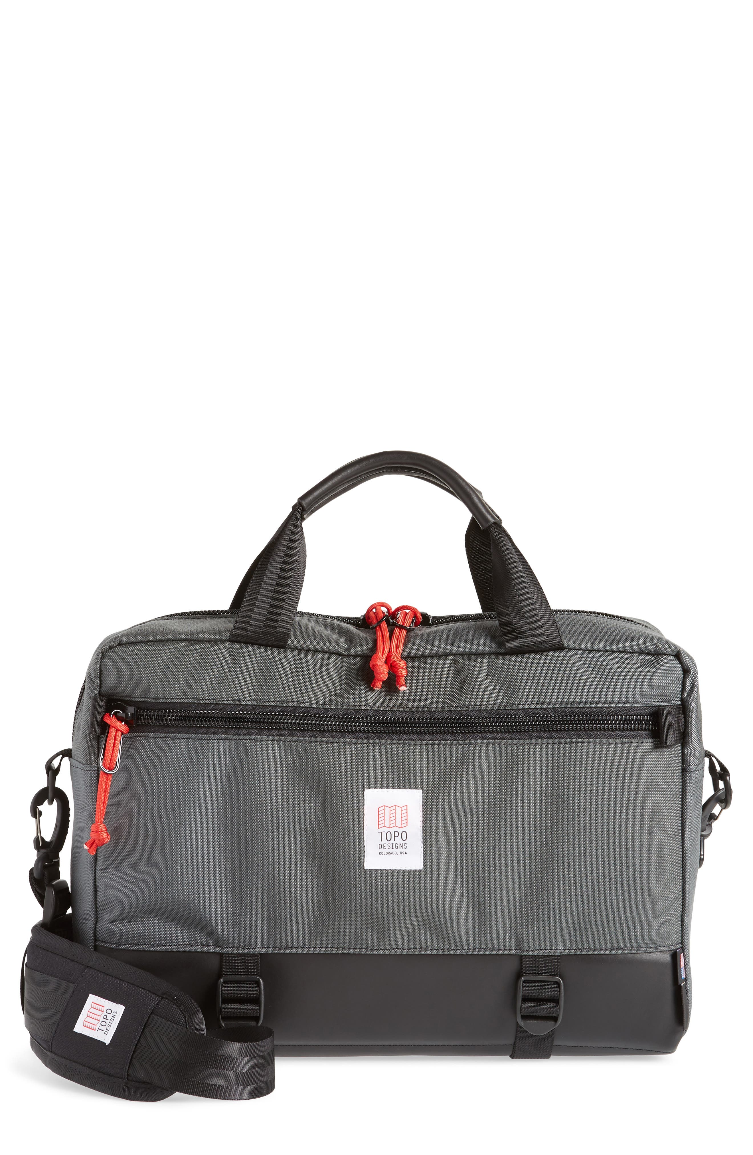 TOPO DESIGNS 'Commuter' Briefcase, Main, color, CHARCOAL/BLACK LEATHER