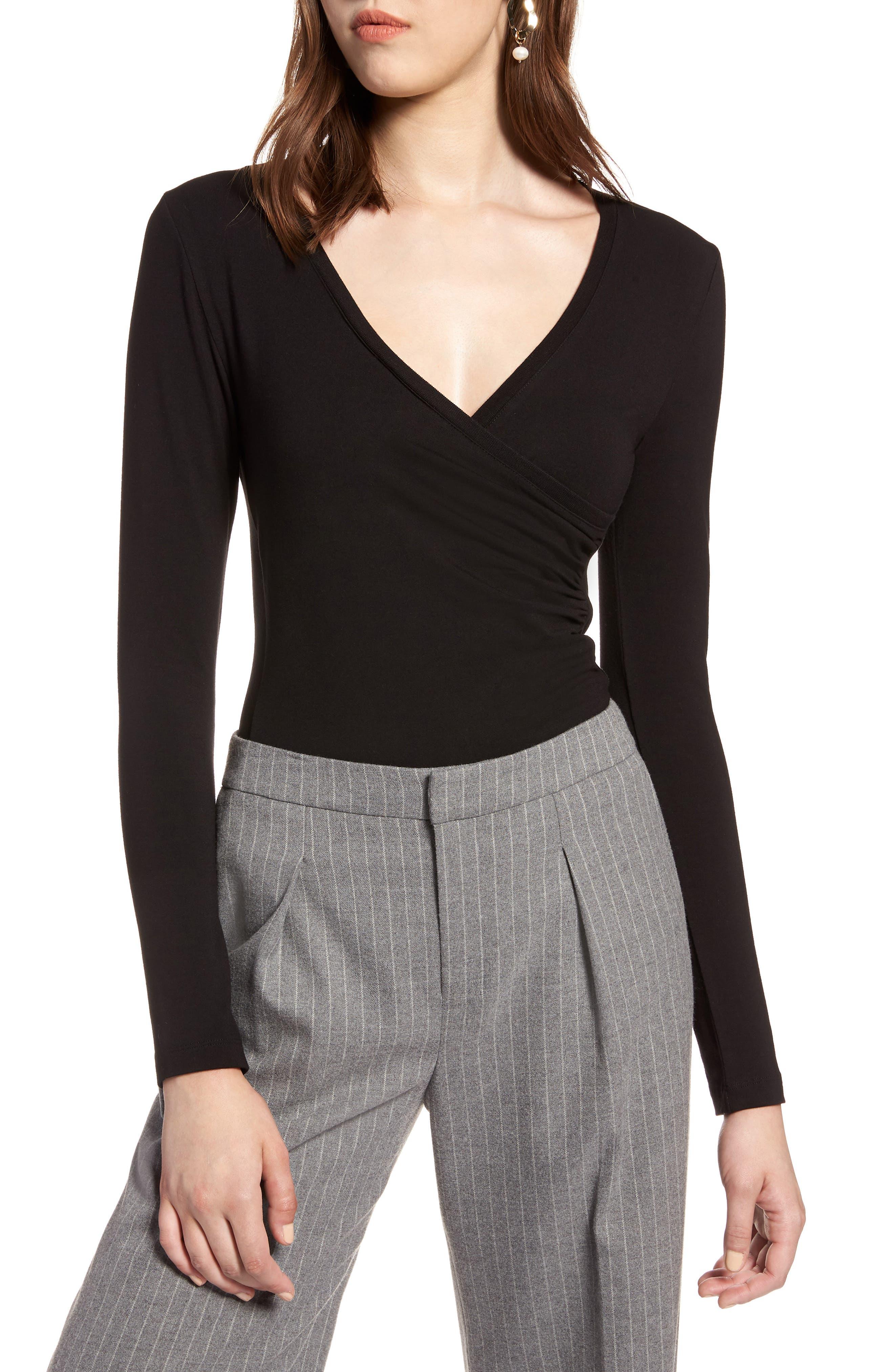 HALOGEN<SUP>®</SUP> Surplice Knit Top, Main, color, 001