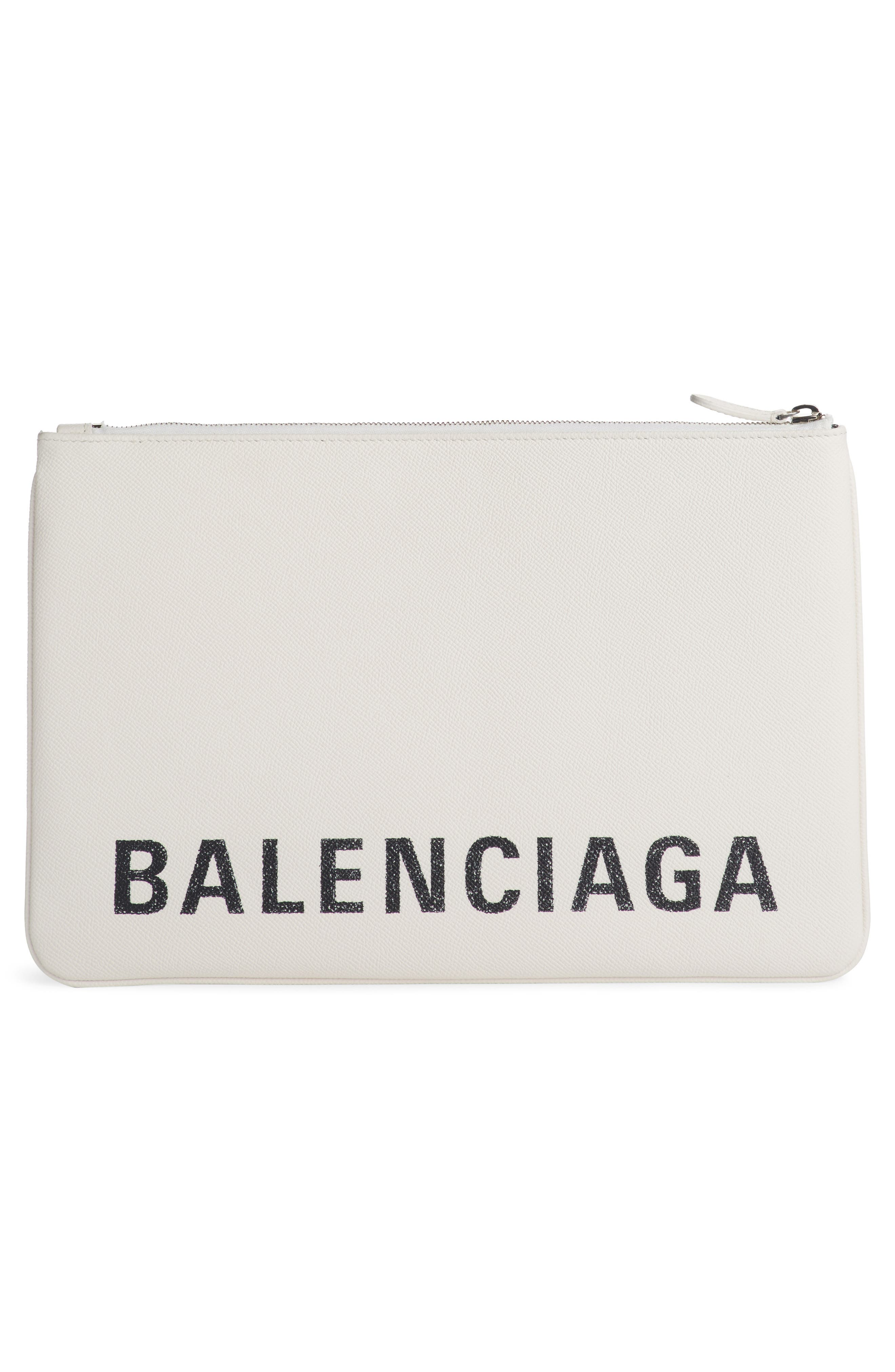BALENCIAGA, Ville Logo Calfskin Leather Pouch, Alternate thumbnail 3, color, BLANC/ NOIR
