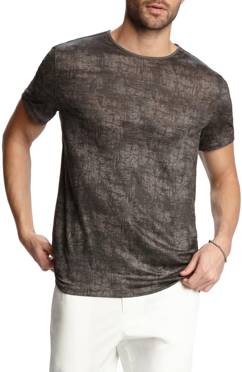 John Varvatos T-shirts SLIM FIT PAINT PRINT LINEN T-SHIRT
