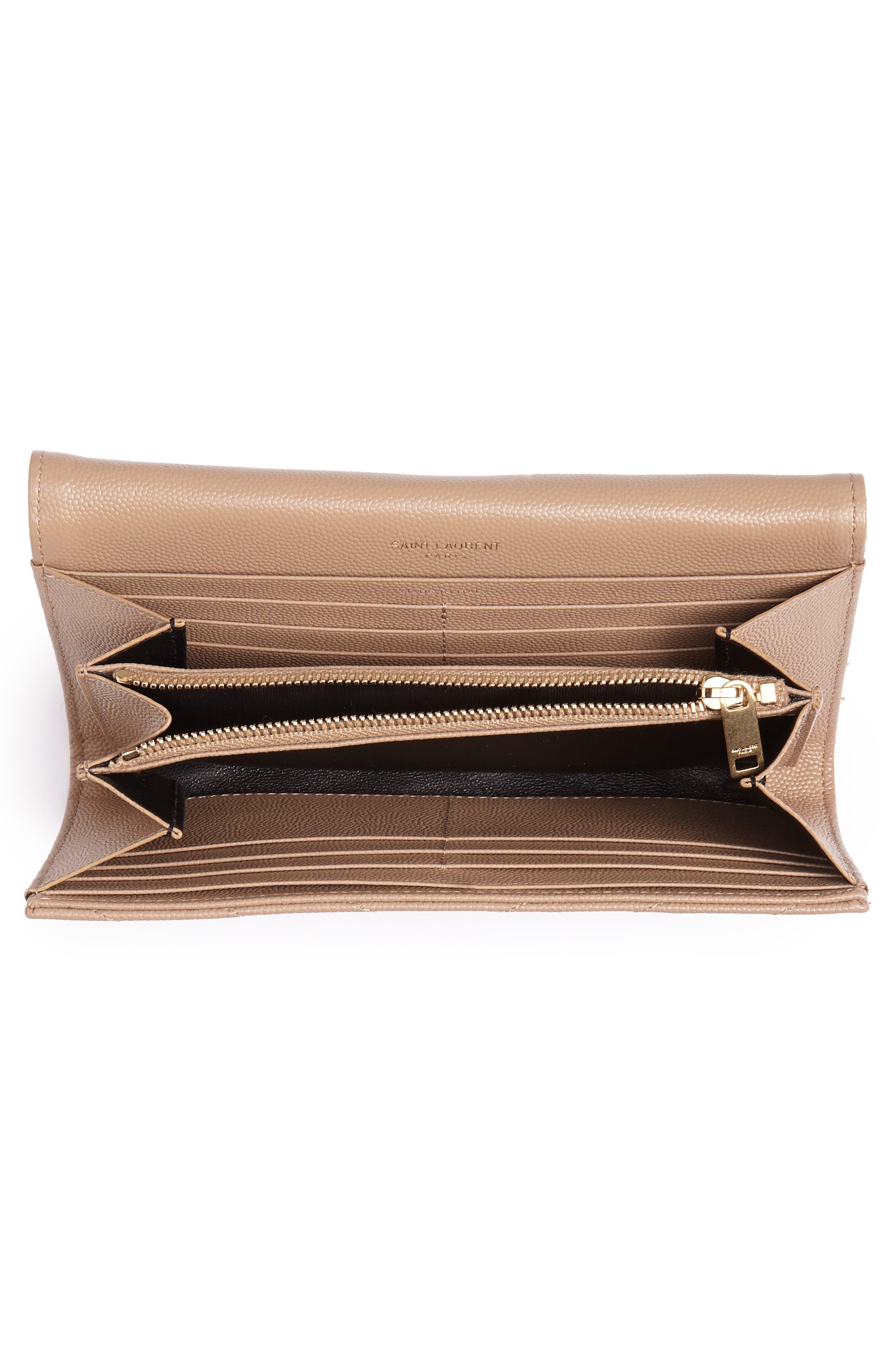 SAINT LAURENT, Monogram Logo Leather Flap Wallet, Alternate thumbnail 4, color, CHENE