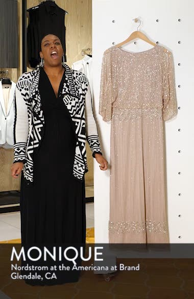 Diamond Motif Mesh Blouson Gown, sales video thumbnail