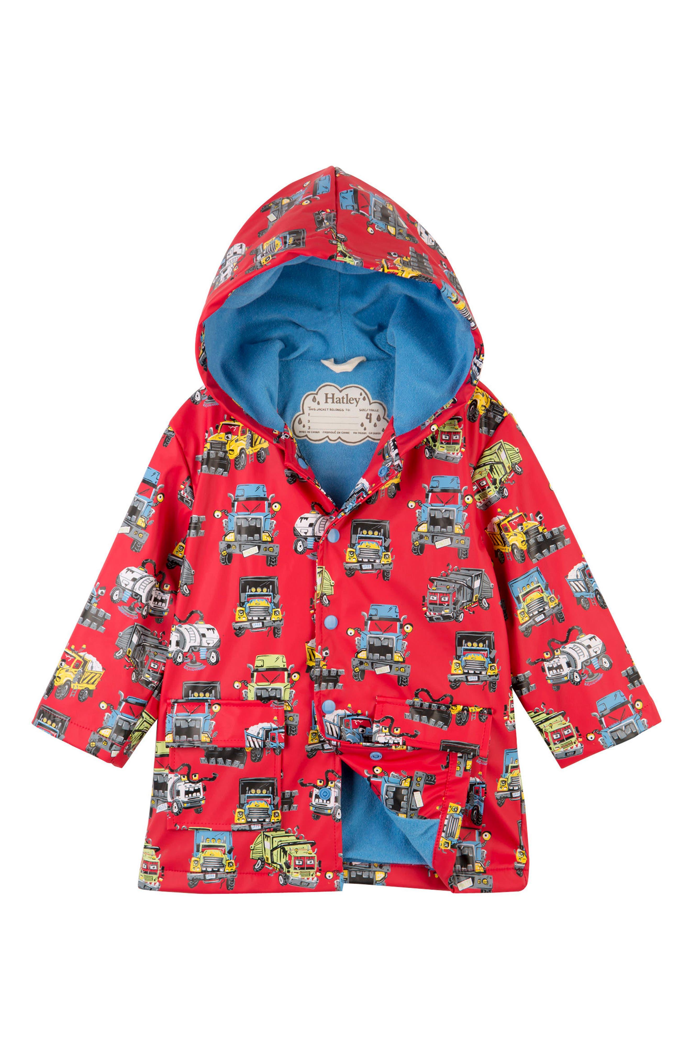 HATLEY, Monster Trucks Hooded Waterproof Raincoat, Main thumbnail 1, color, 600