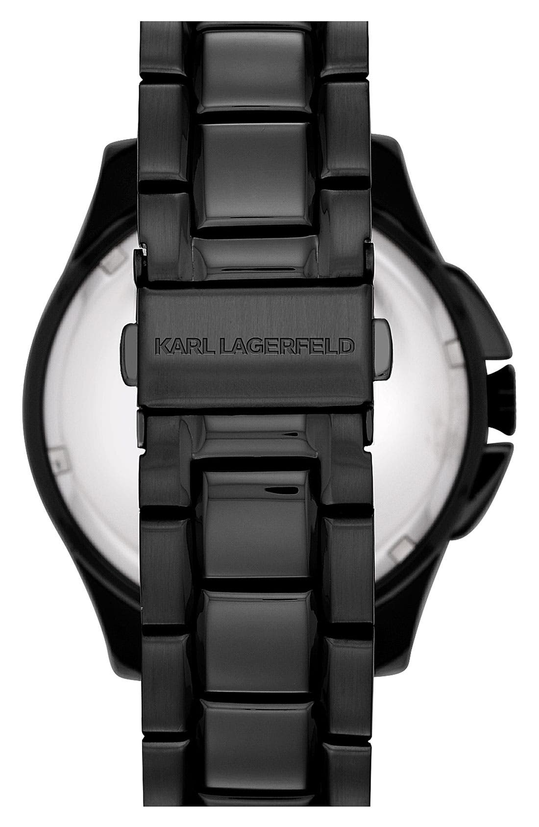 KARL LAGERFELD PARIS, KARL LAGERFELD '7' Faceted Bezel Bracelet Watch, 44mm, Alternate thumbnail 2, color, 001